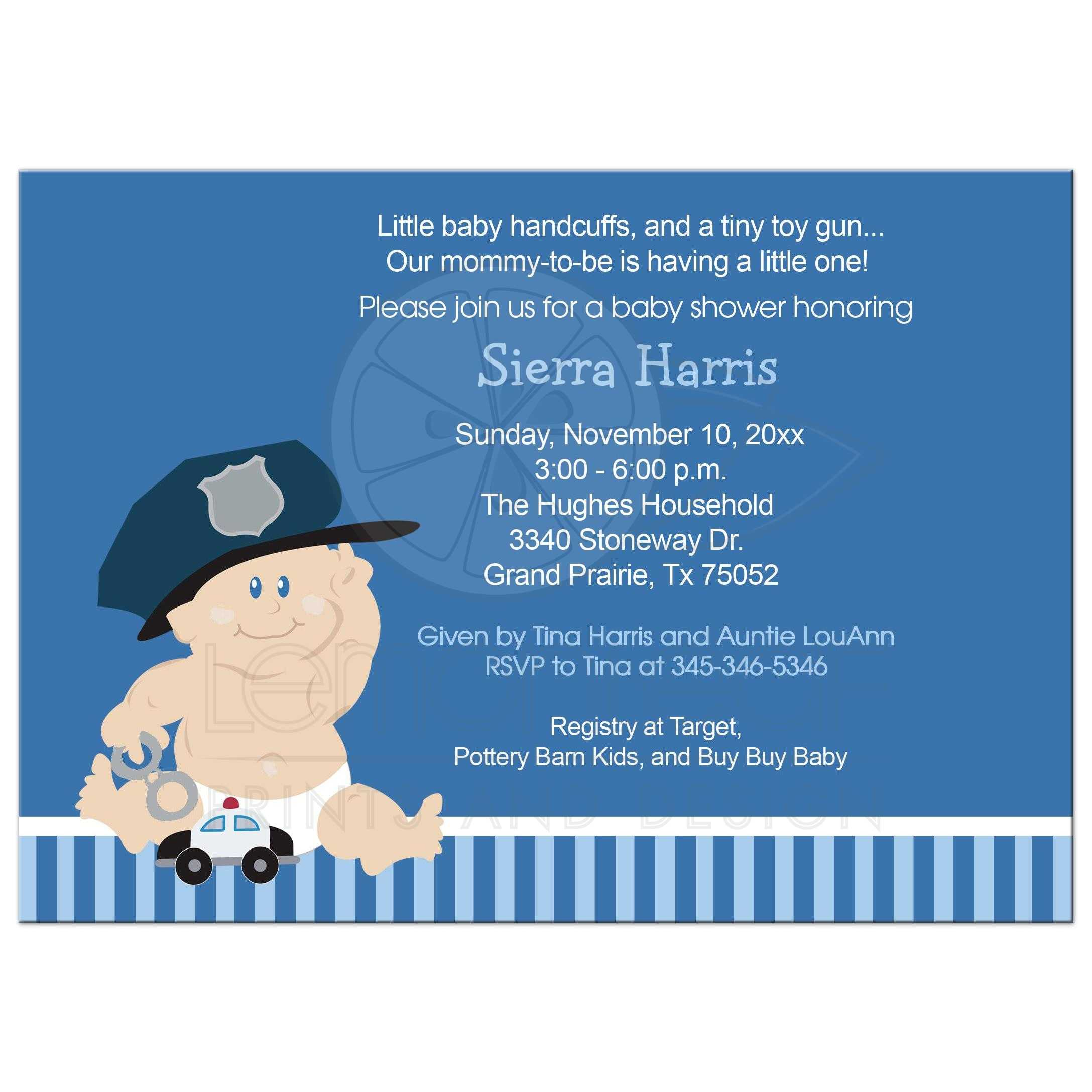 Baby Cop Police Officer Baby Shower Invitation Baby Boy