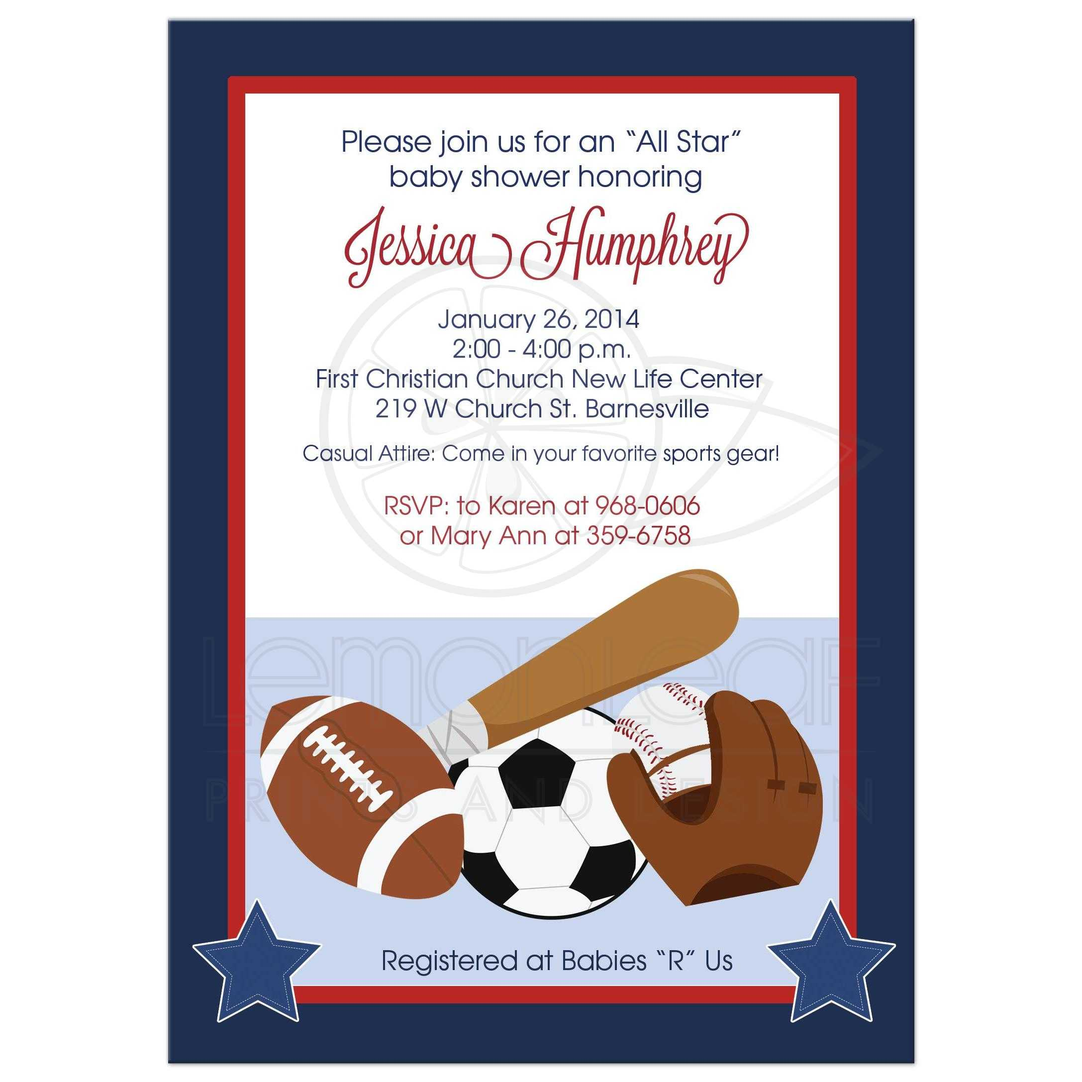 All Stars Sports Navy And Red Boy Baby Shower Invitation