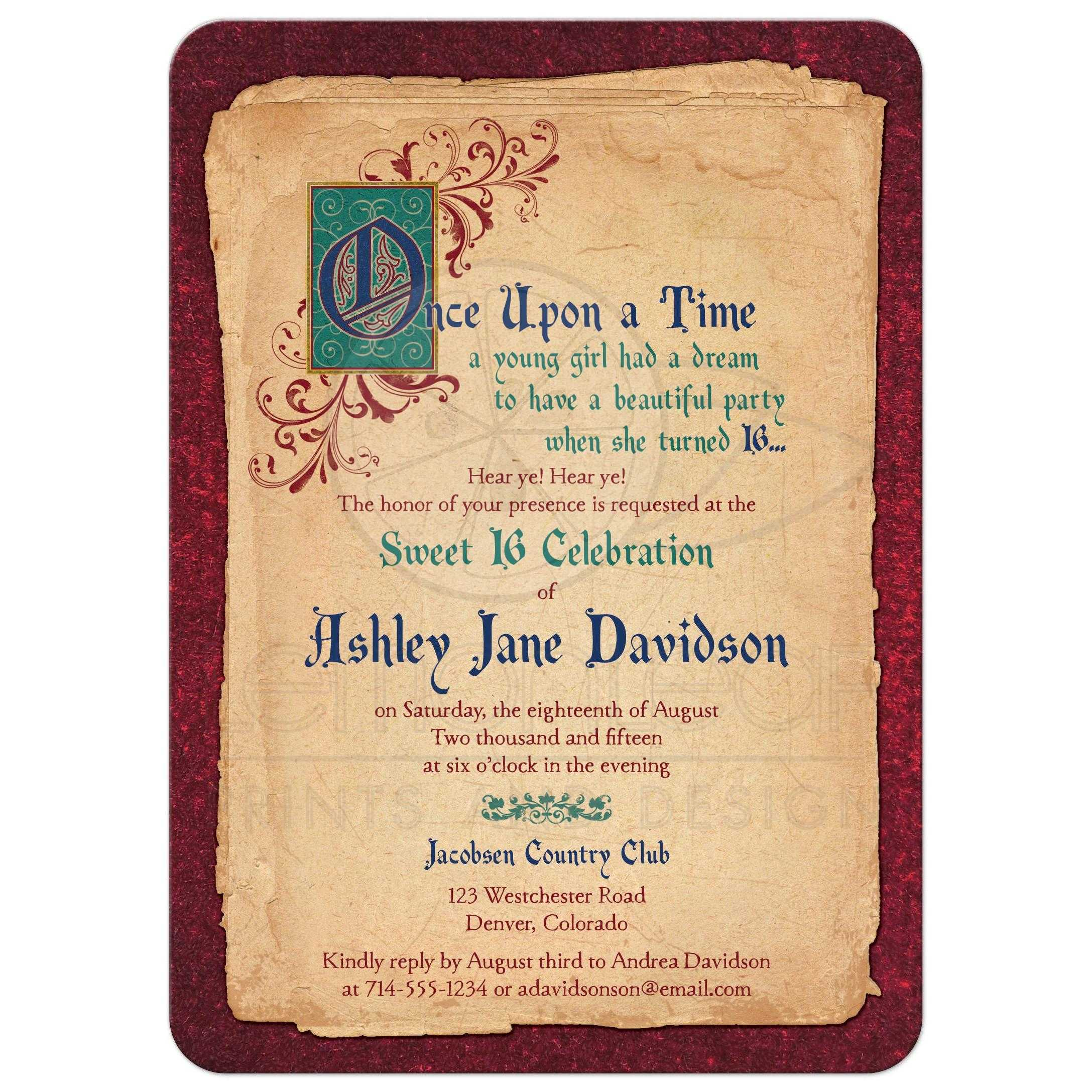 Medieval Party Invitations with adorable invitation example