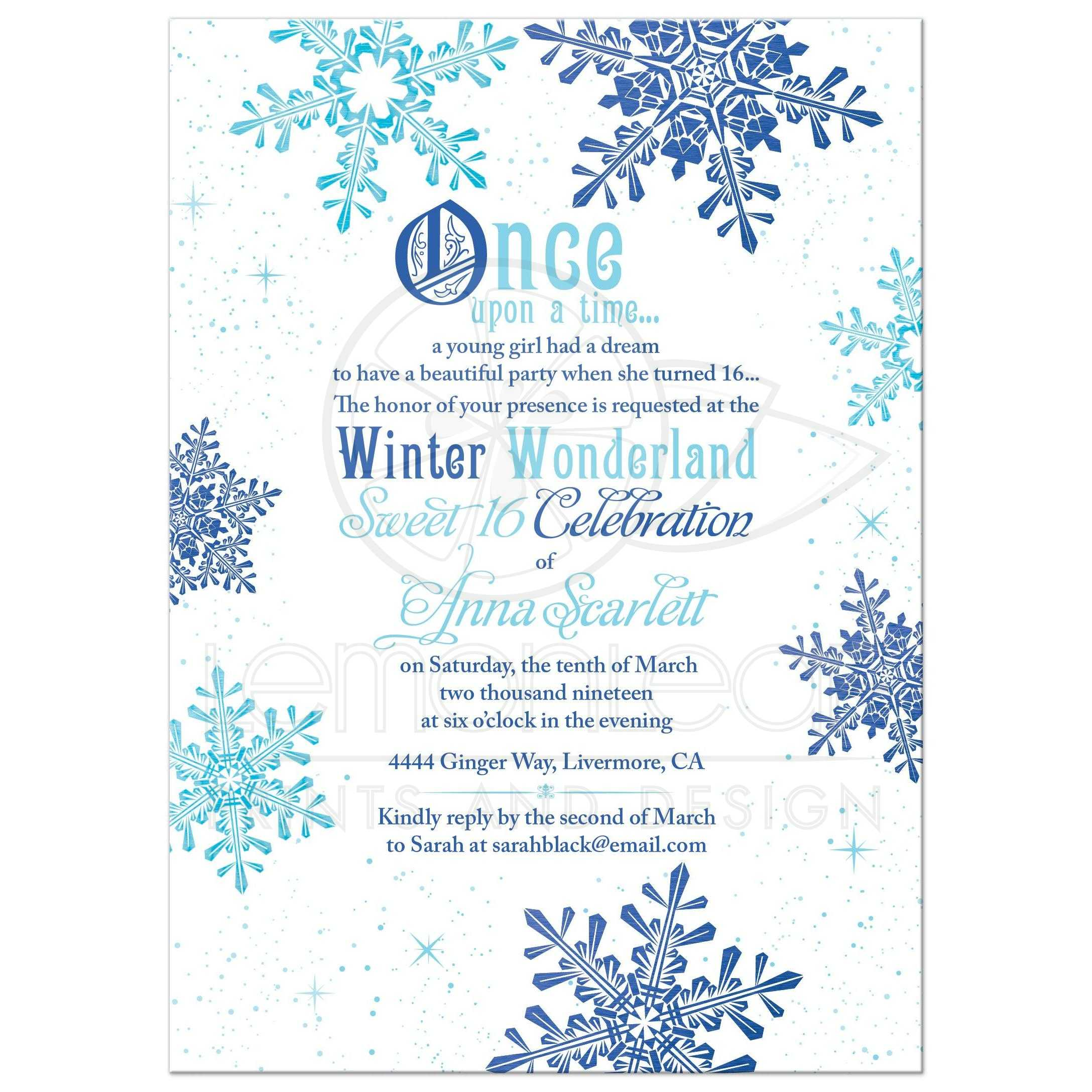 turquoise and royal blue snowflake once upon a time winter wonderland sweet 16 invitation front