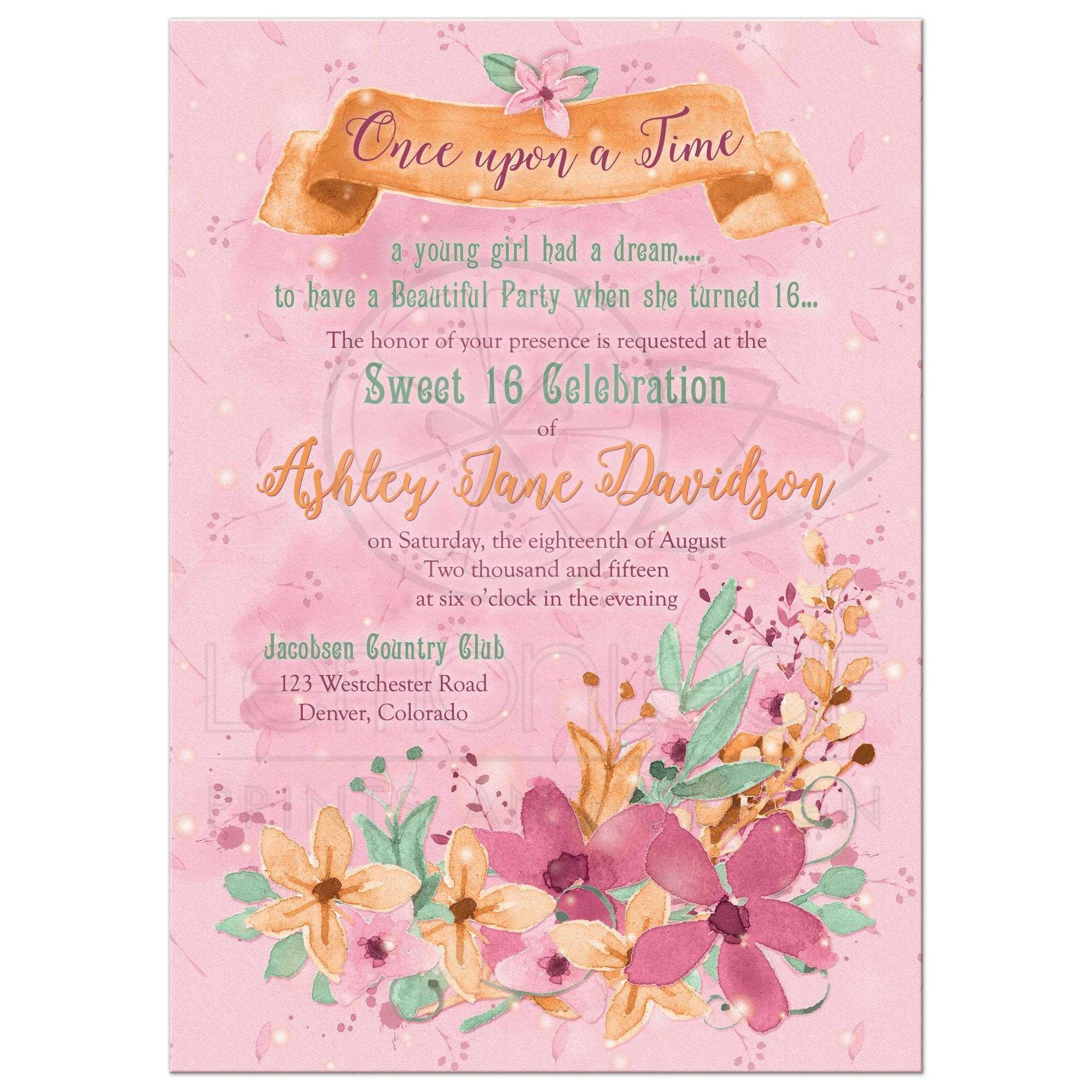 Fairy Tale Floral Sweet 16 Invitation Orange Pink Mint