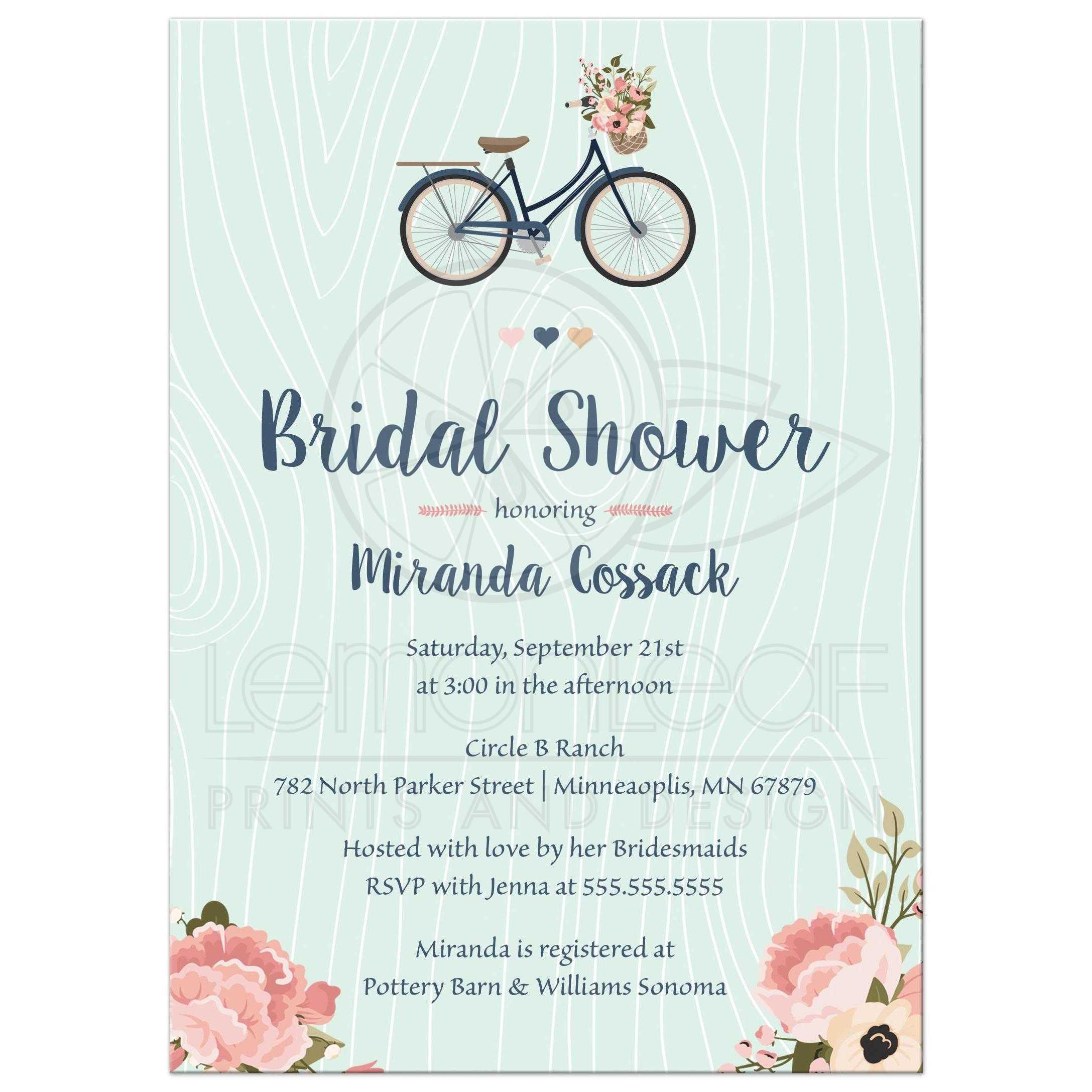 Bridal shower invitation blush and navy floral bike blush pink and navy floral bike bridal shower invitation filmwisefo Choice Image