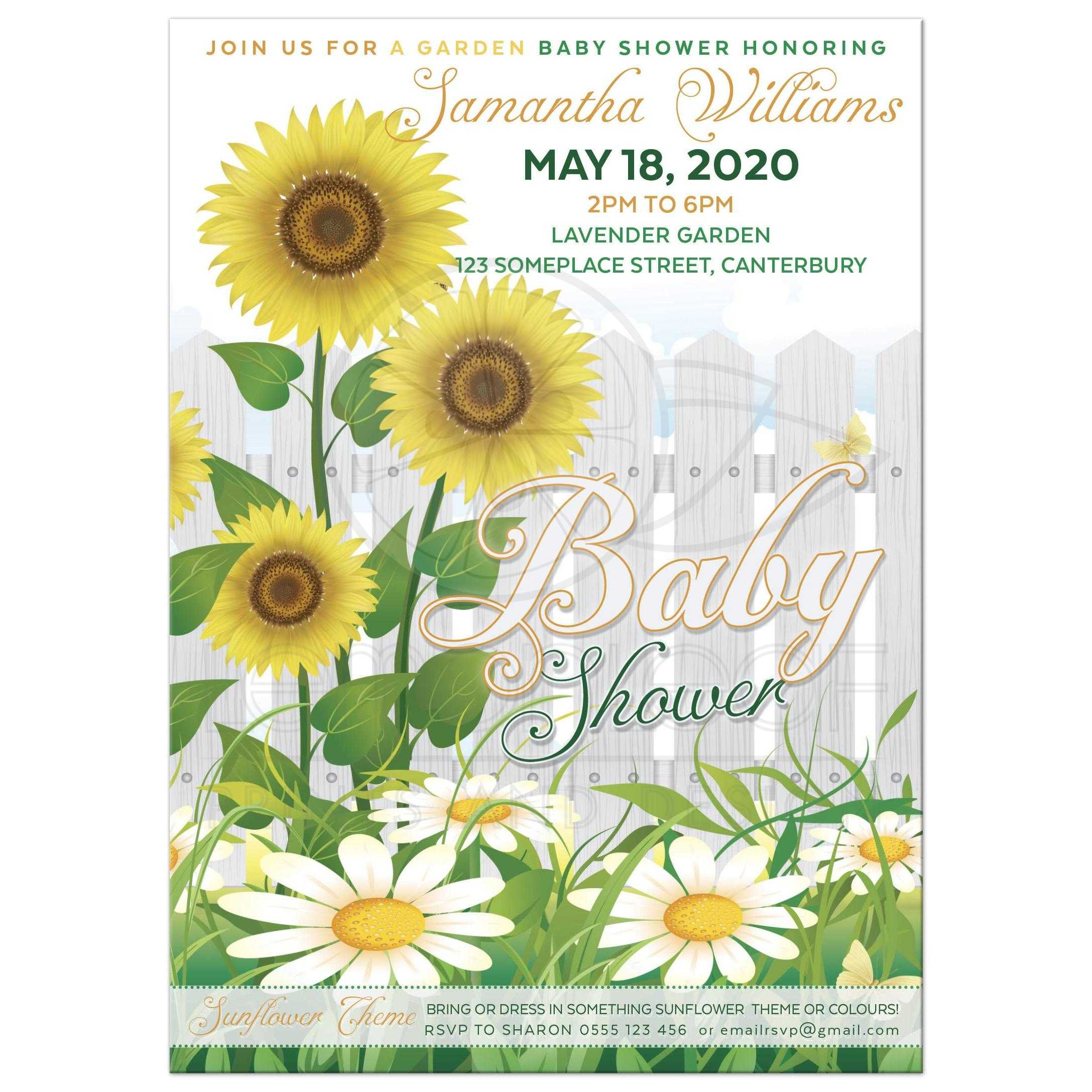Baby shower sunflower daisy flower garden party white picket fence sunflower baby shower invite filmwisefo