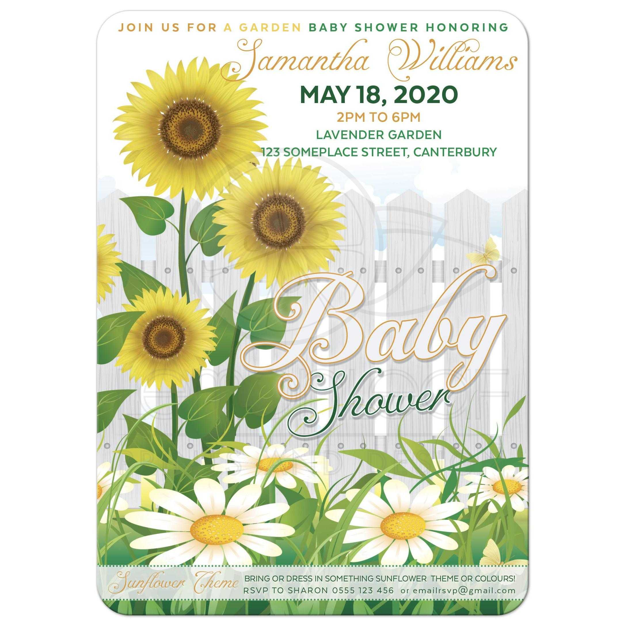 ... White Picket Fence Sunflower Baby Shower Invite ...