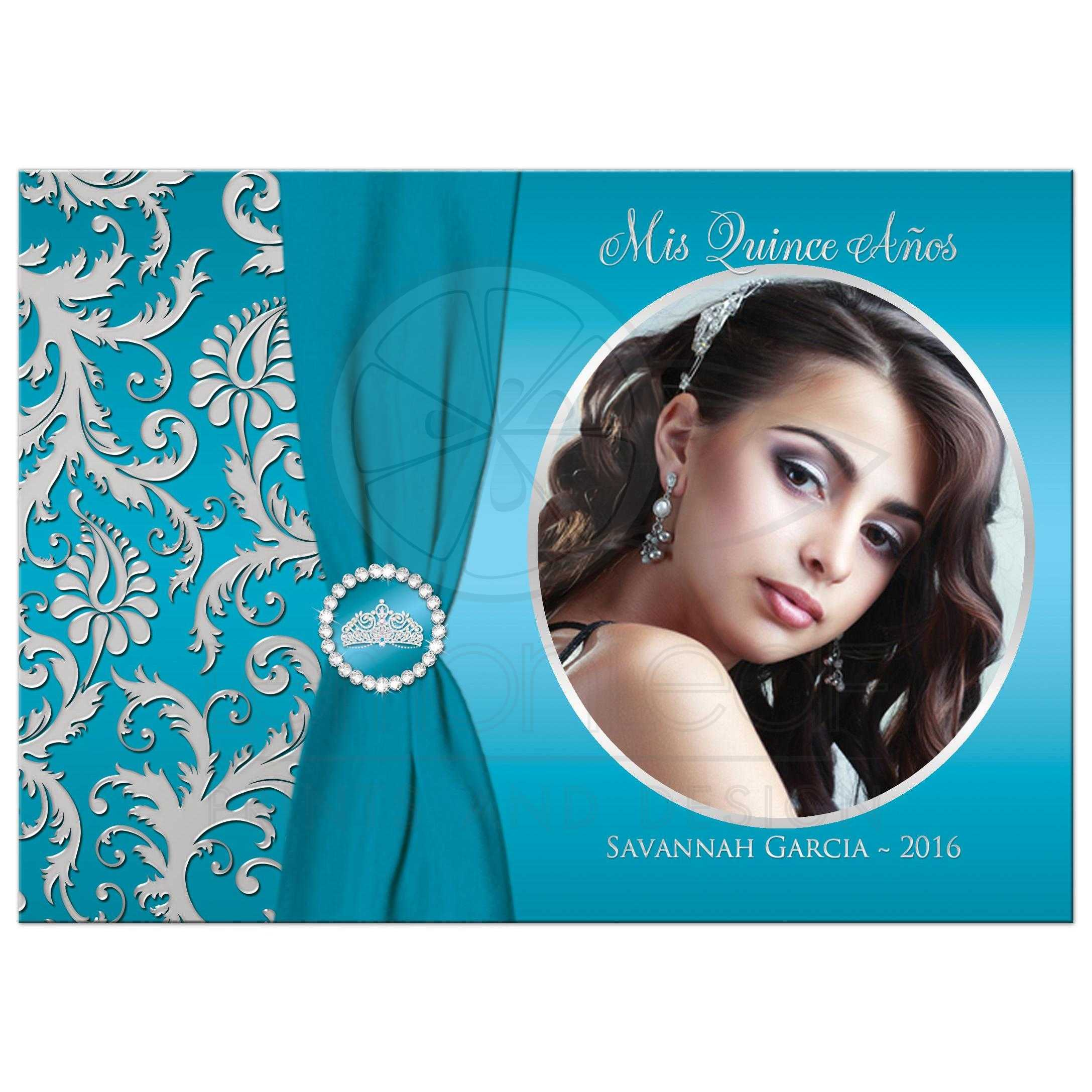 Quinceañera PHOTO Birthday Invitation | Turquoise, Silver Damask ...