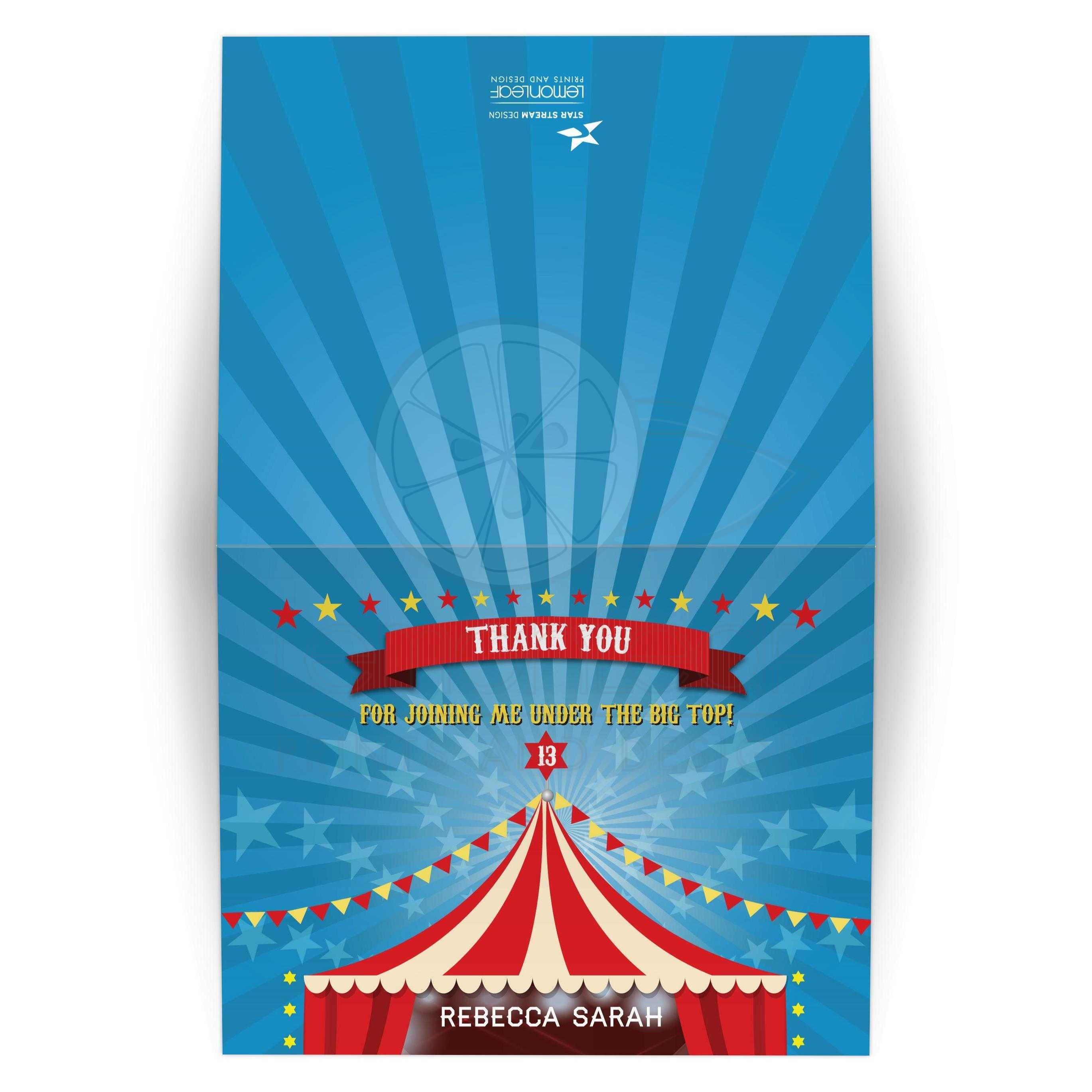 Bar Bat Mitzvah Folded Thank You Card Circus Carnival Big Top
