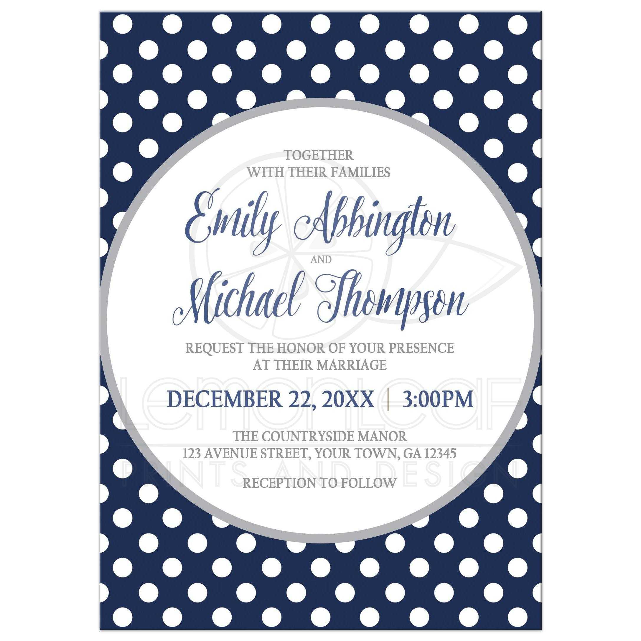 Very Wedding Invitations - Gray Navy Blue Polka Dot WV72