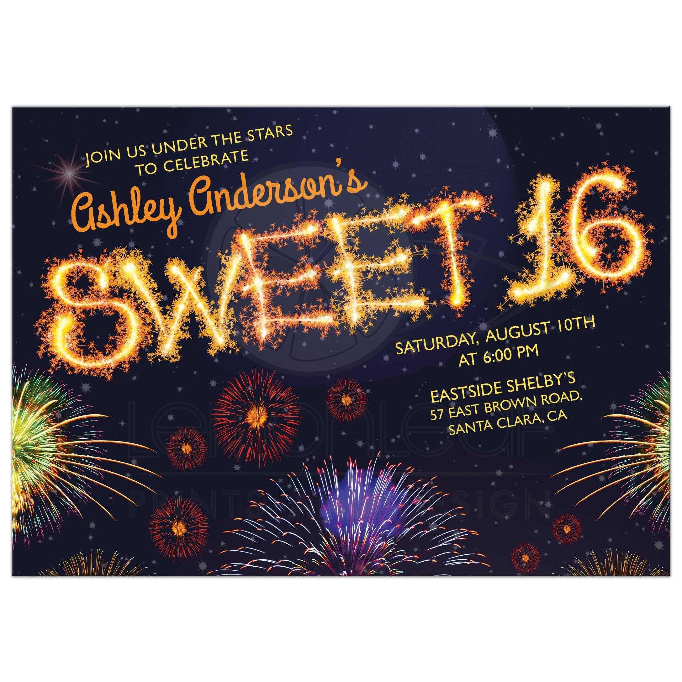 Fireworks Sparkler Sweet 16 Invitation Night Sky