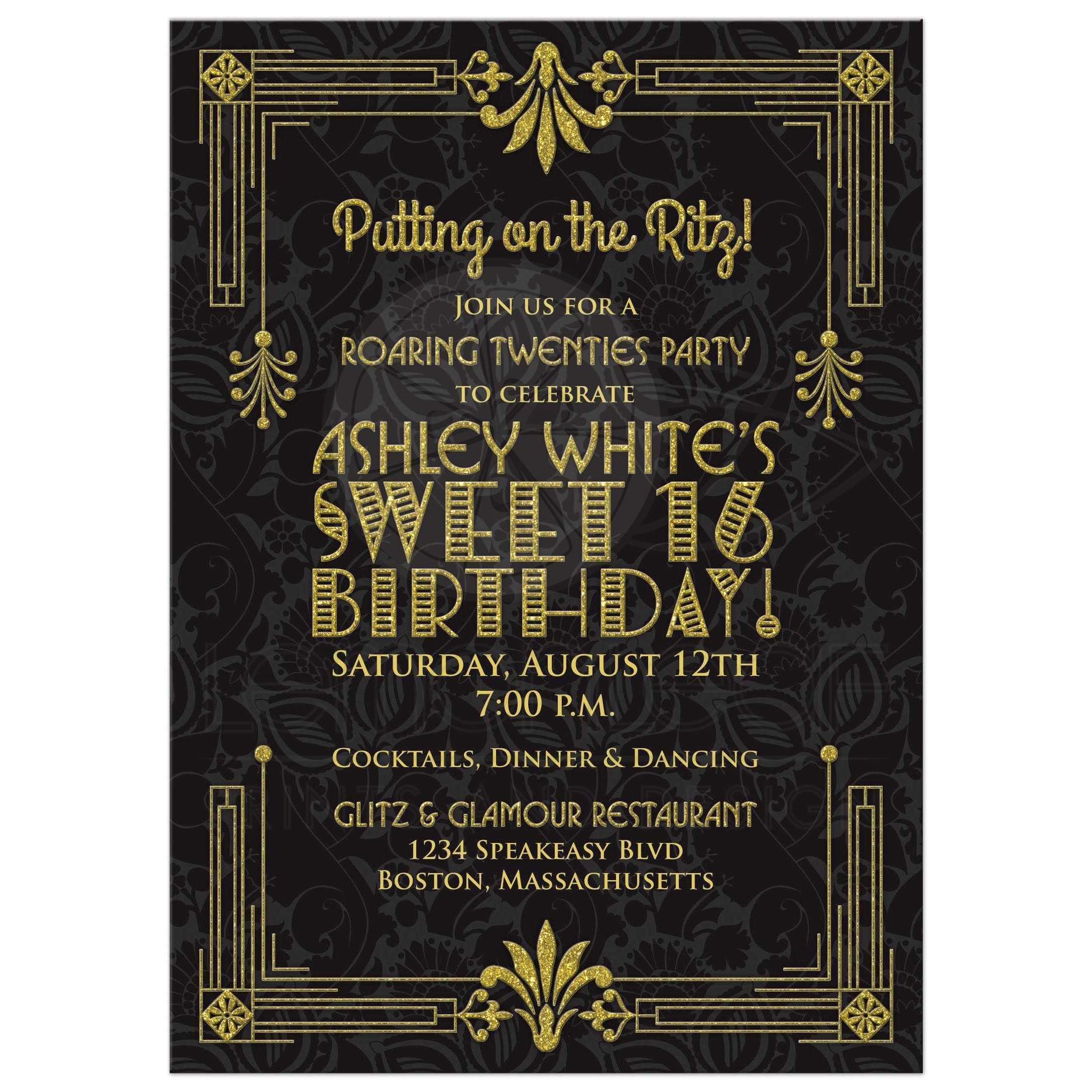 Sweet 16 Birthday Invitation Roaring 20s Art Deco Black Gold