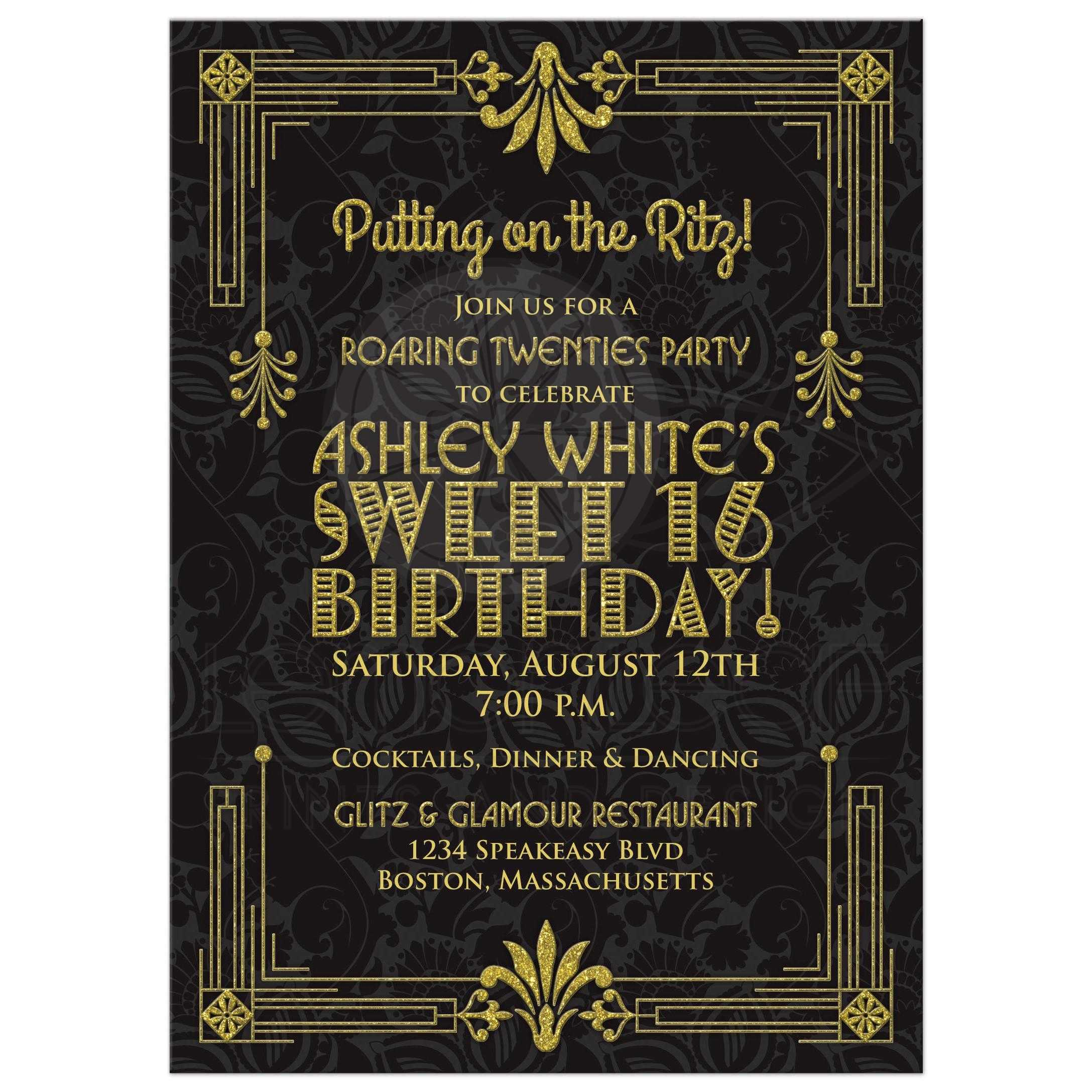 Sweet 16 birthday invitation roaring 20s art deco black gold black and gold roaring 20s roaring twenties art deco style sweet 16 invitation front filmwisefo