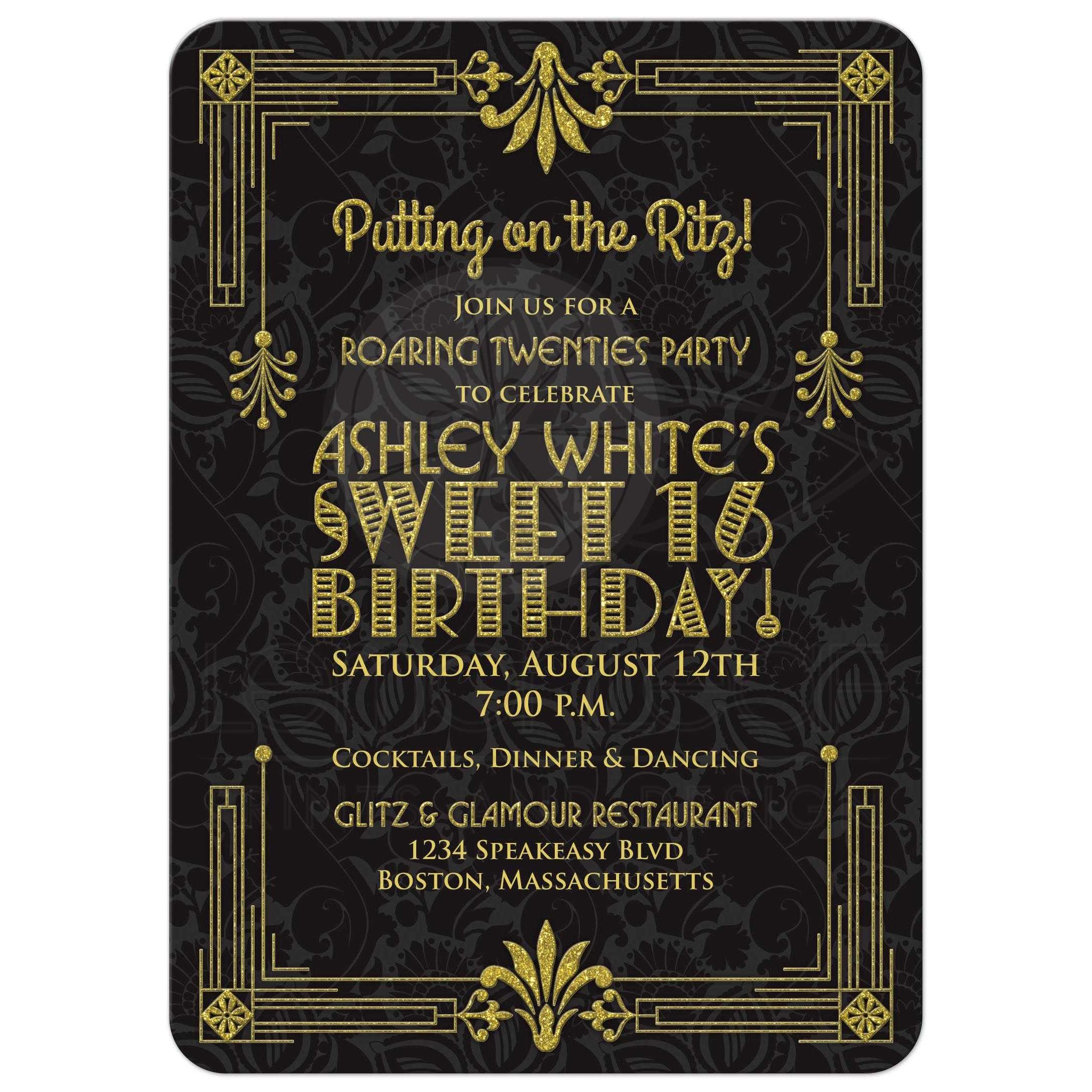 black and gold invitations