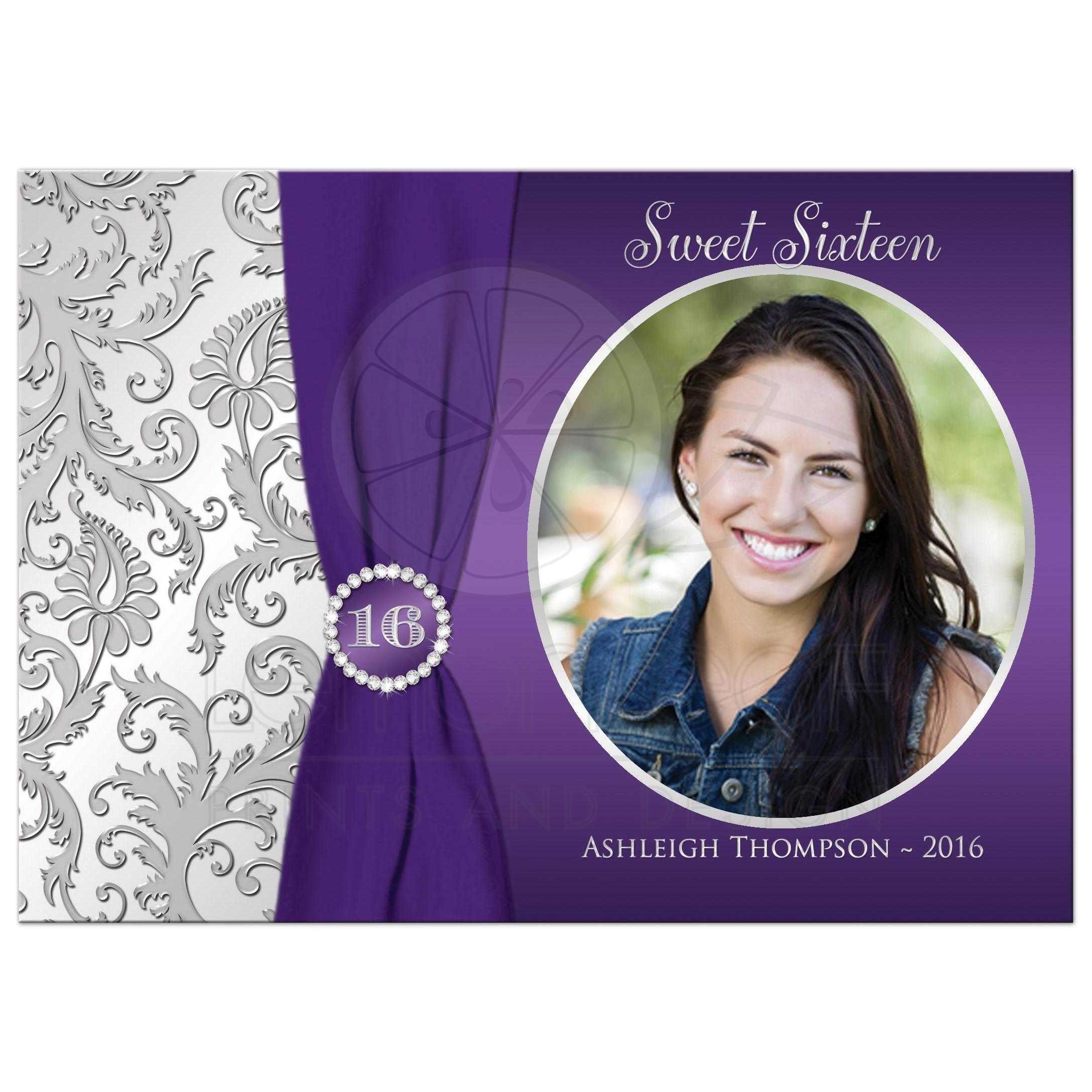 Sweet 16 PHOTO Birthday Invitation | Purple, Silver Damask | Printed ...