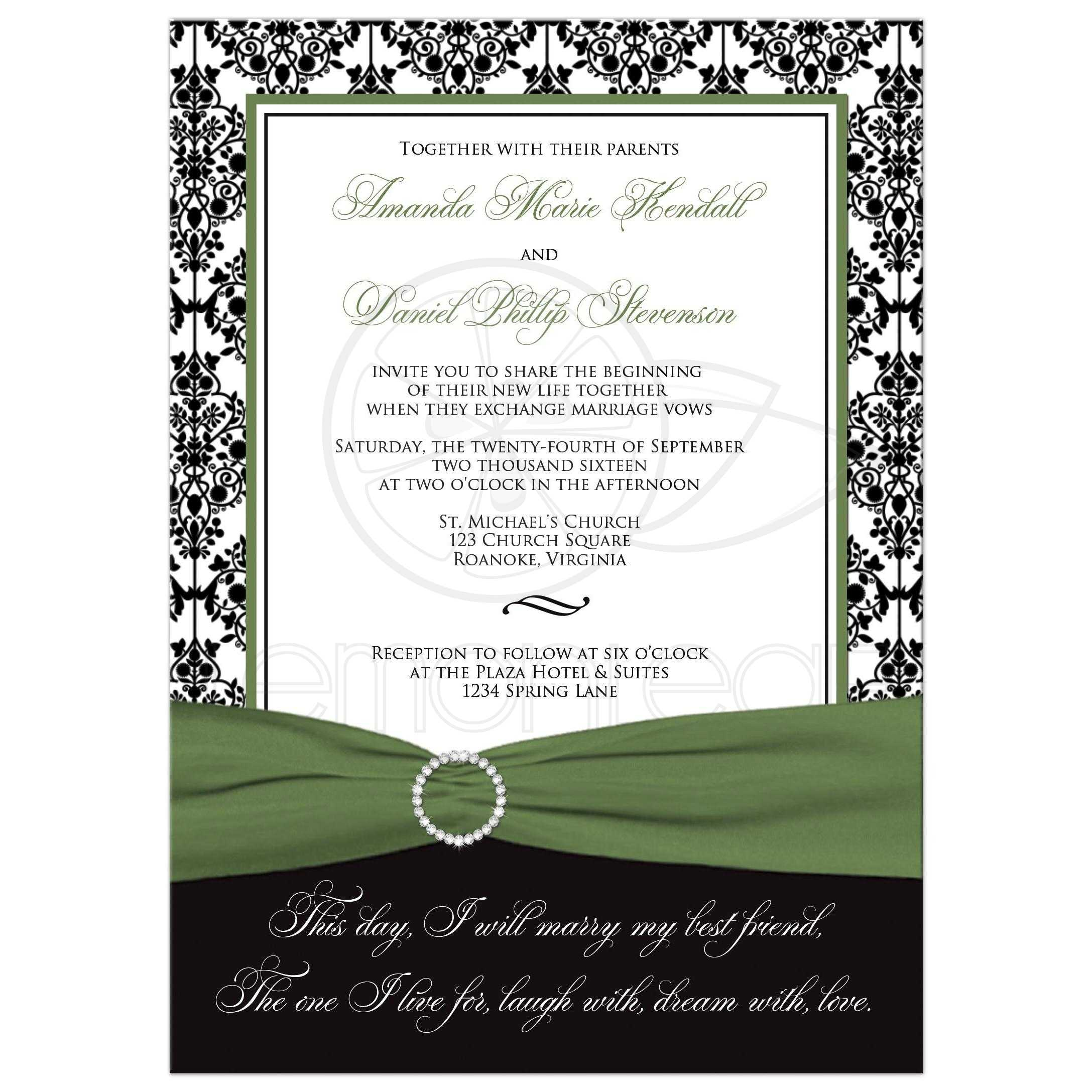 black white and green damask wedding invitations - 28 images - black ...