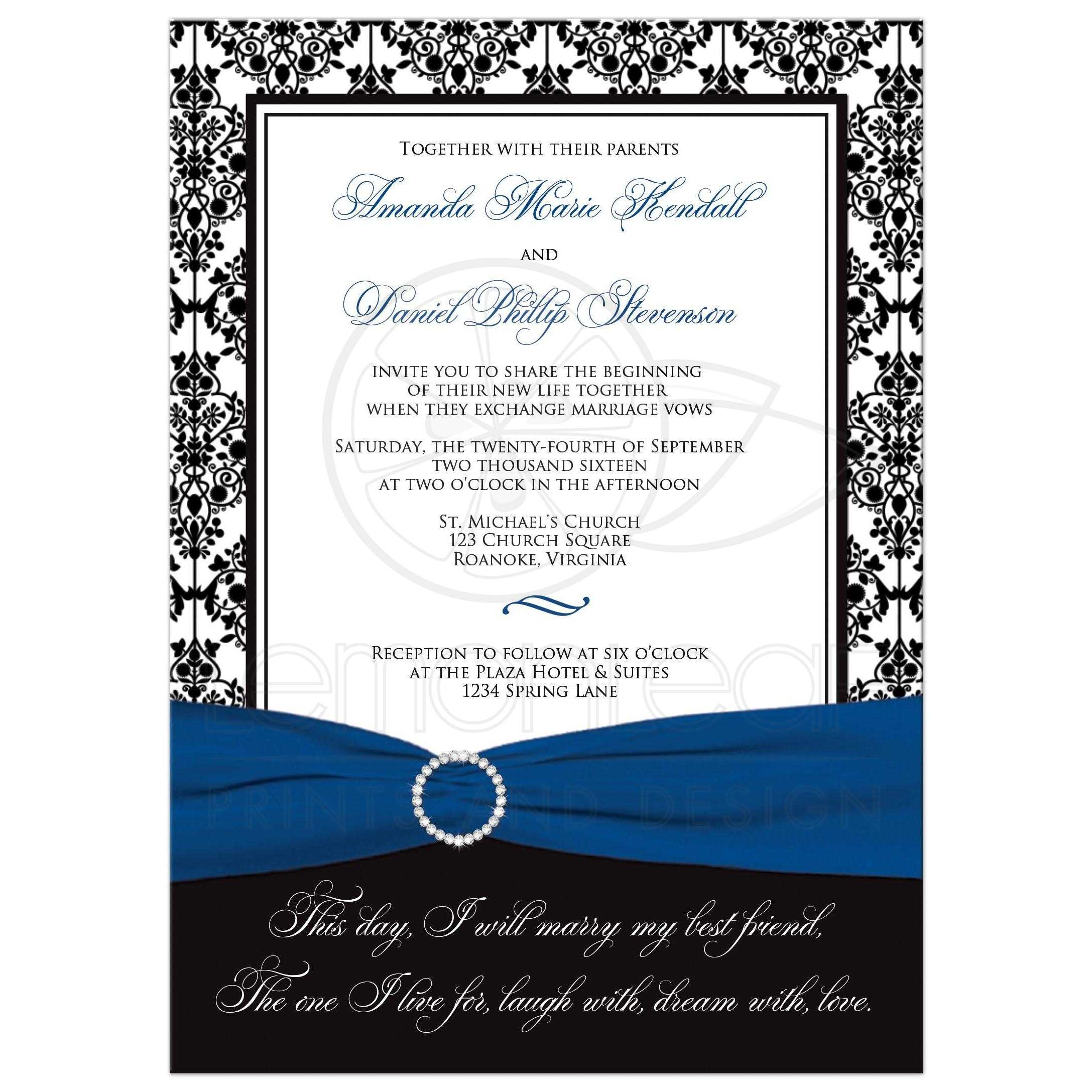 Wedding Invitation | Black, White Damask | Printed Royal Blue Ribbon ...