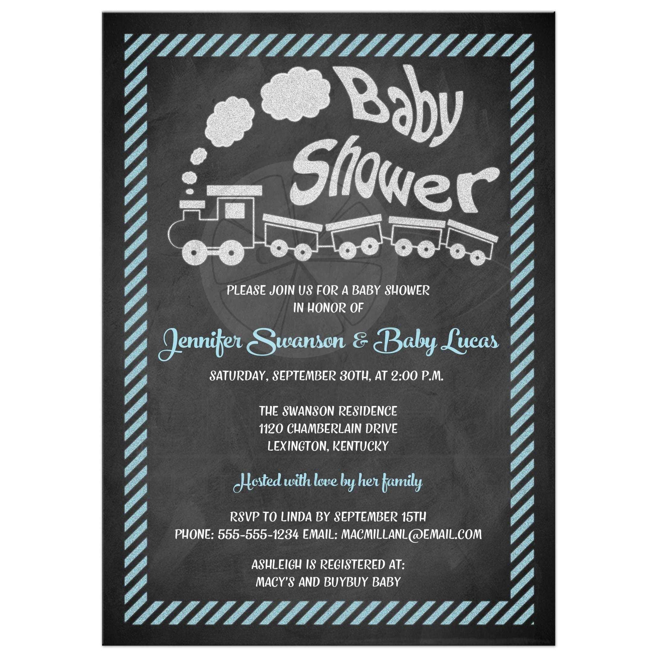 Baby Shower Invitation | Chalkboard, Toy Train | Blue