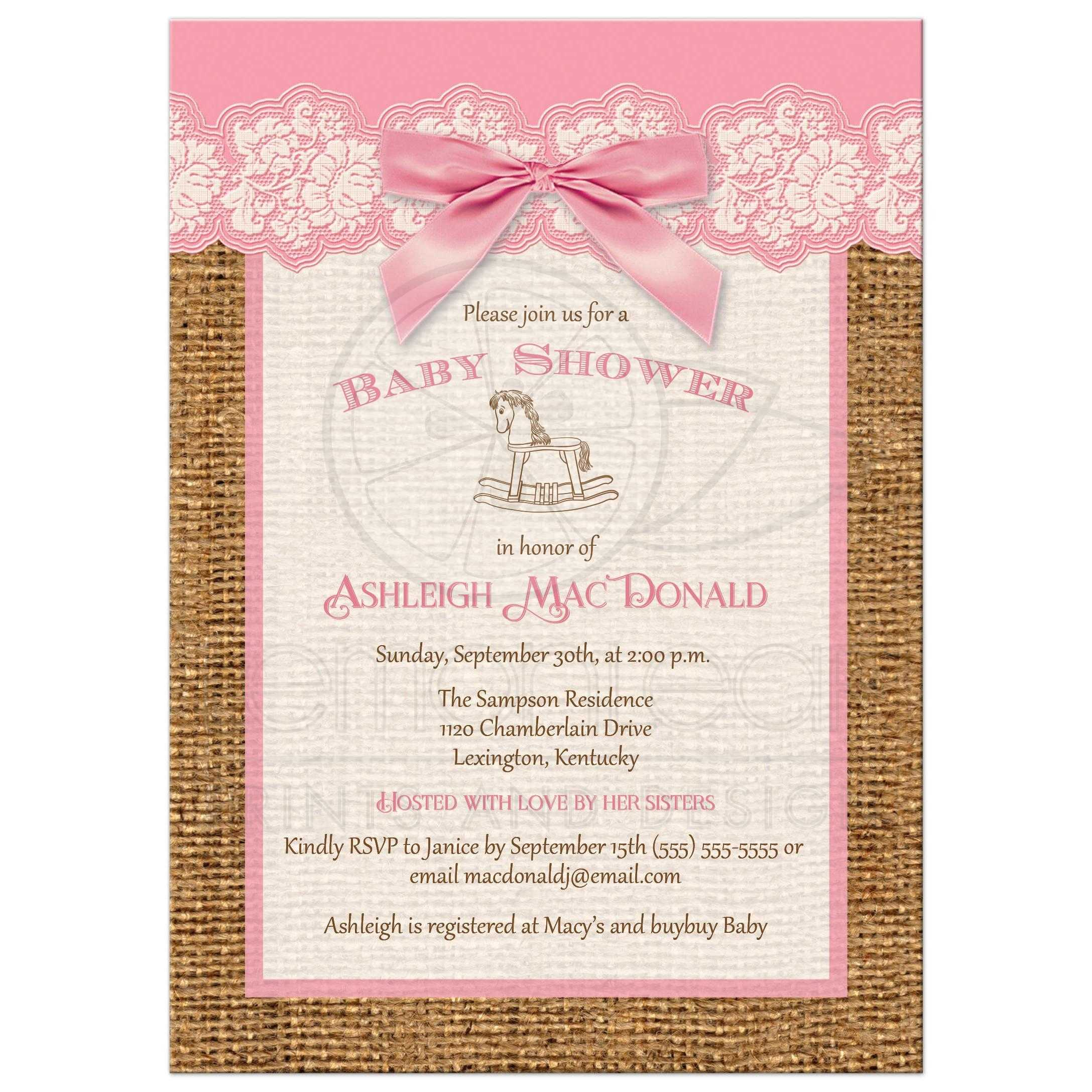 Best Pink, Ivory, And Brown Burlap Baby Shower Invitation With Pink Bow For  A ...