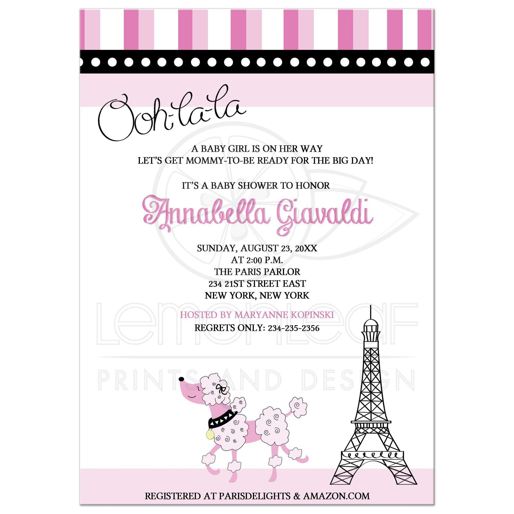 Paris Poodle Baby Shower Invitations Theme