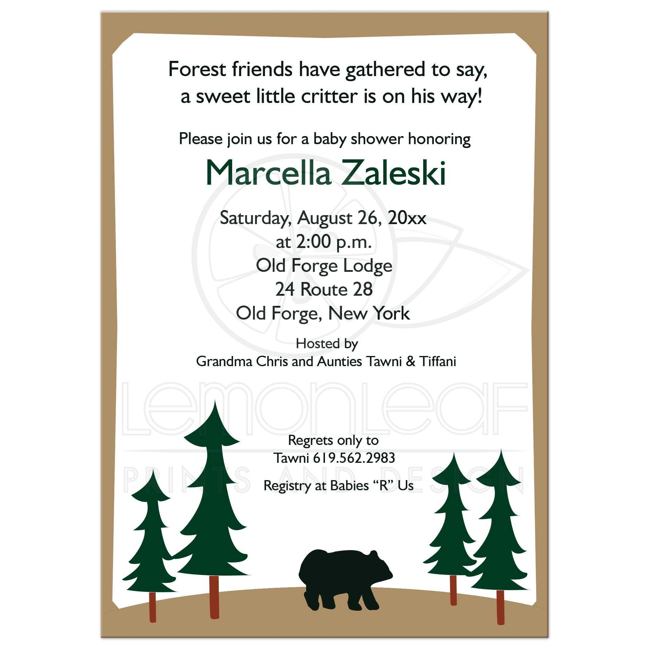 rustic brown bear woodland lodge baby shower invitations