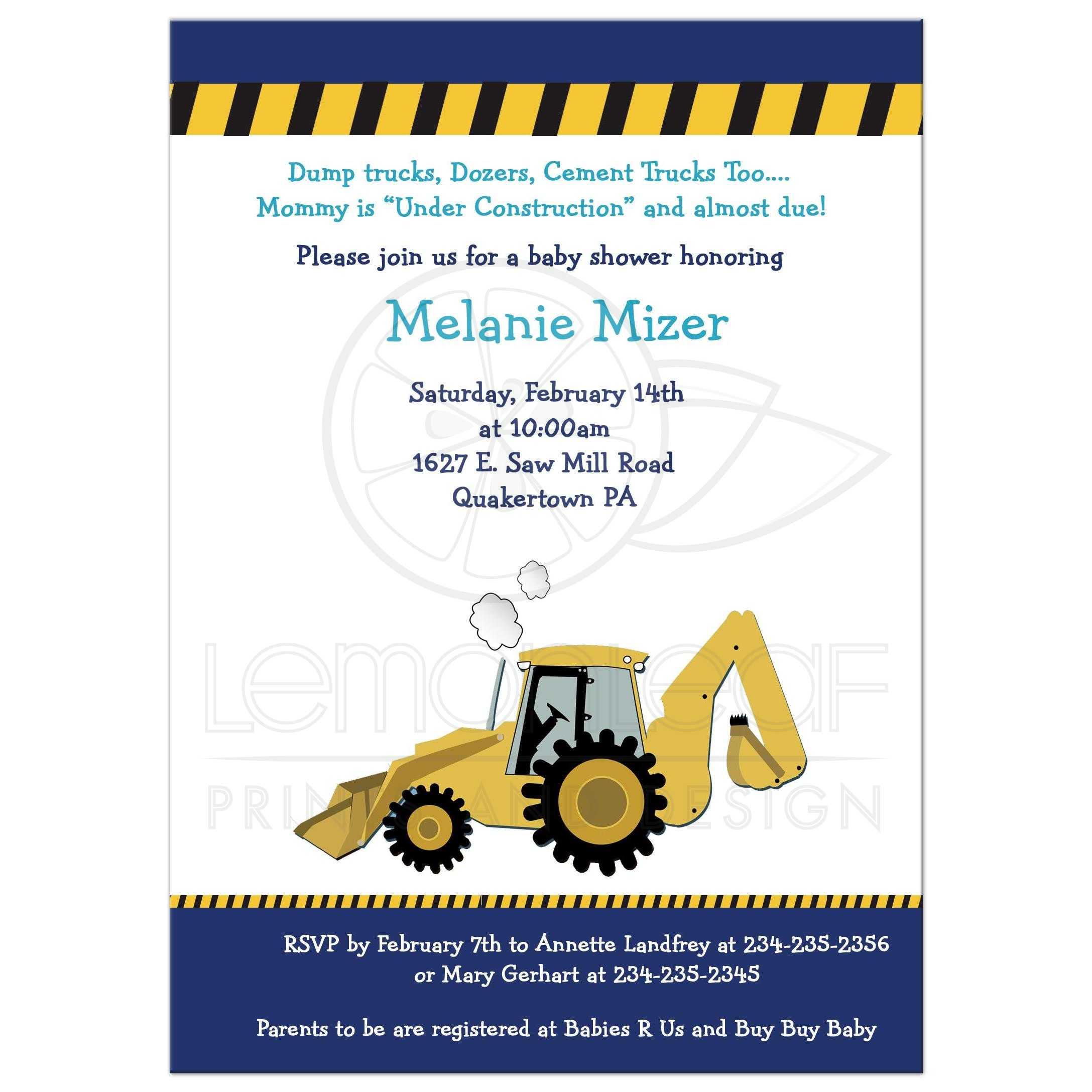 Construction Backhoe Baby Shower Invitation / Baby Boy Invite