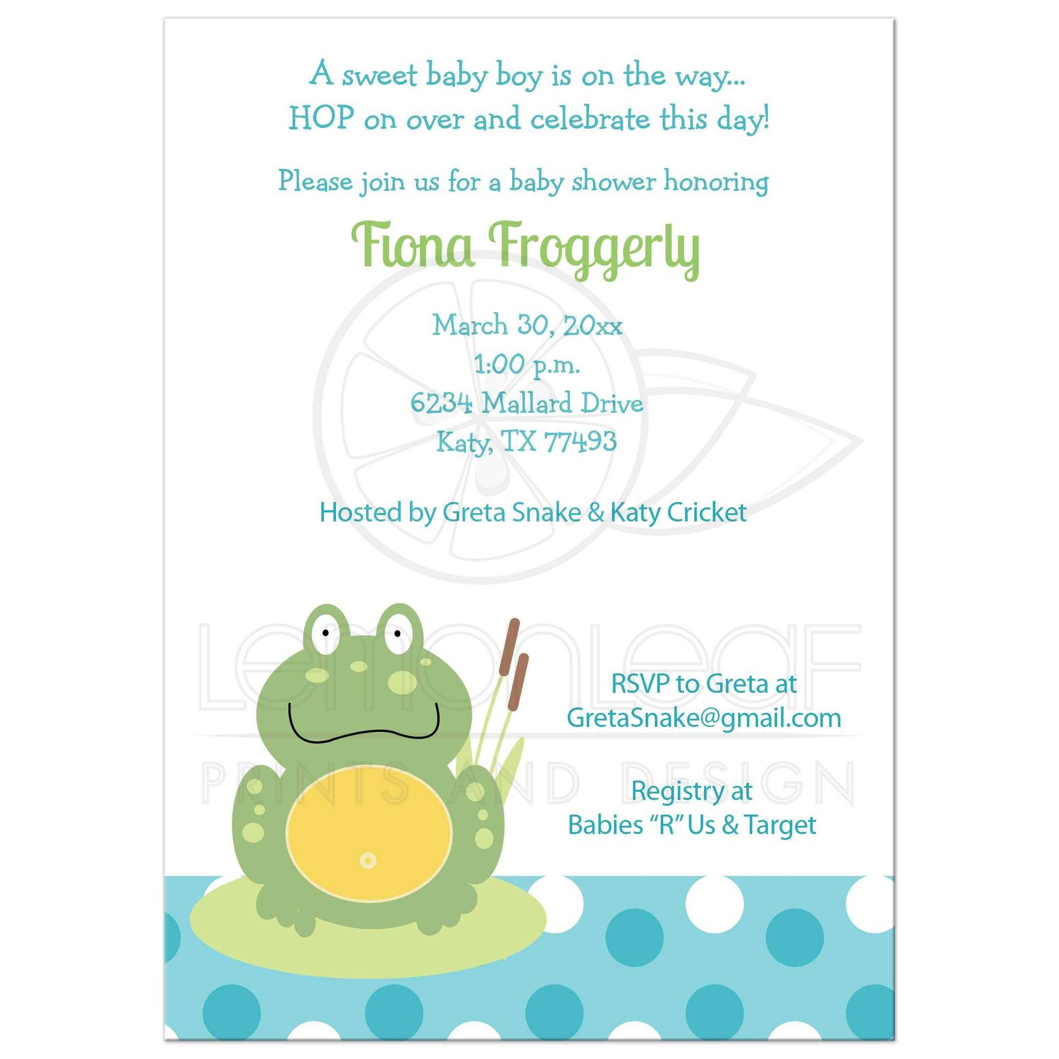 Green Pond Frog Blue Dot Baby Shower Invitations