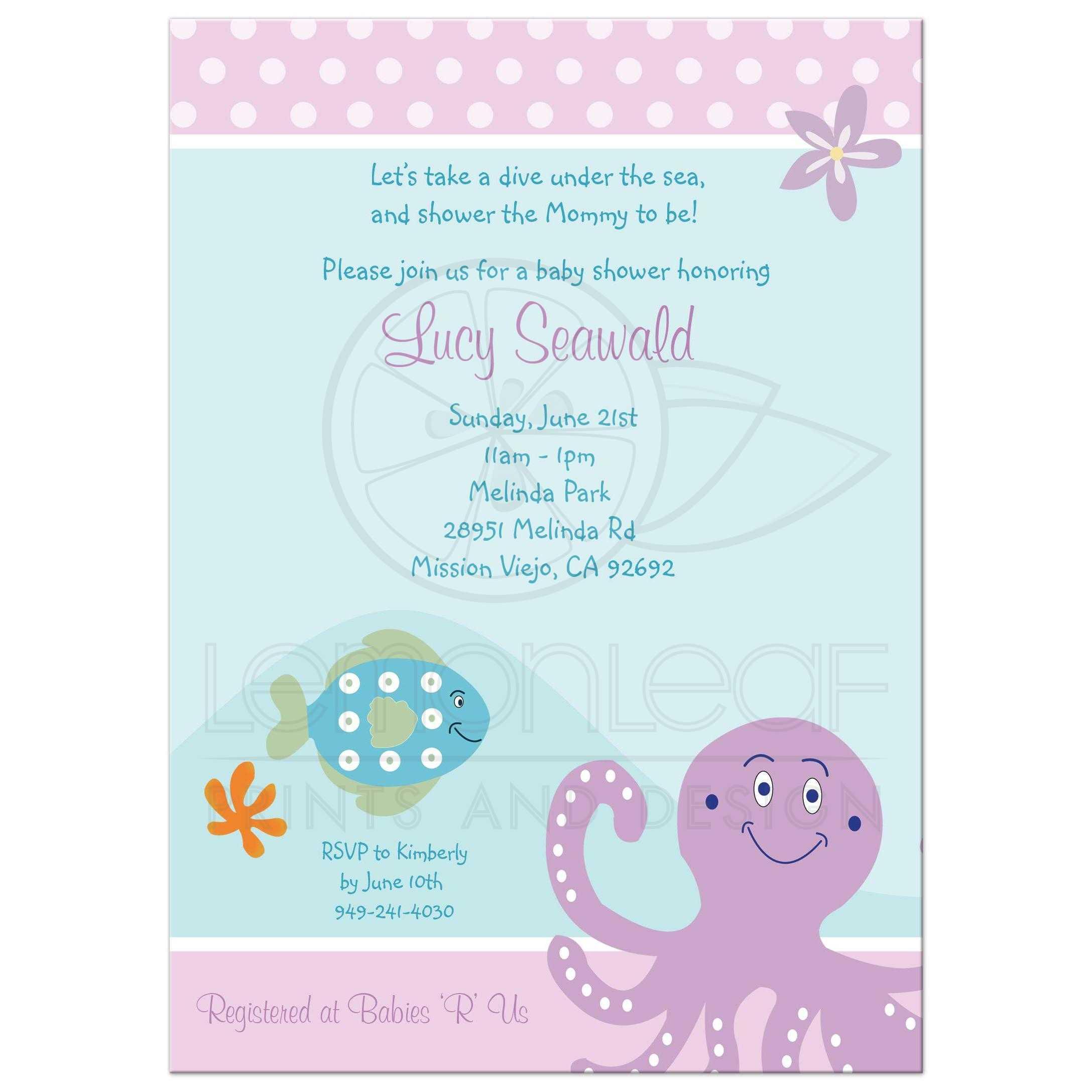 Purple Octopus Baby Shower Invitations