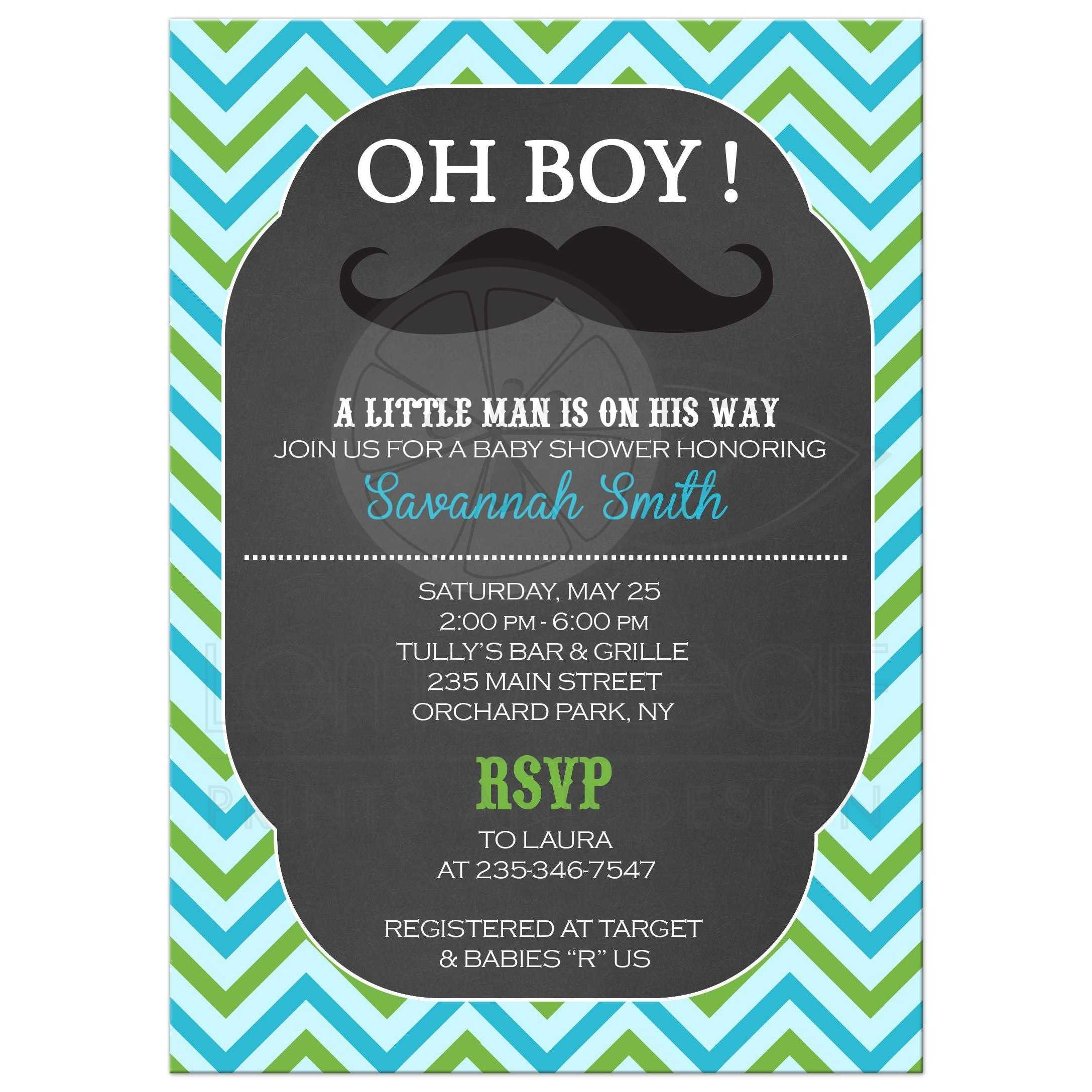 Mustache Little Man Chalkboard Baby Shower Invitation - Blue/Mint ...