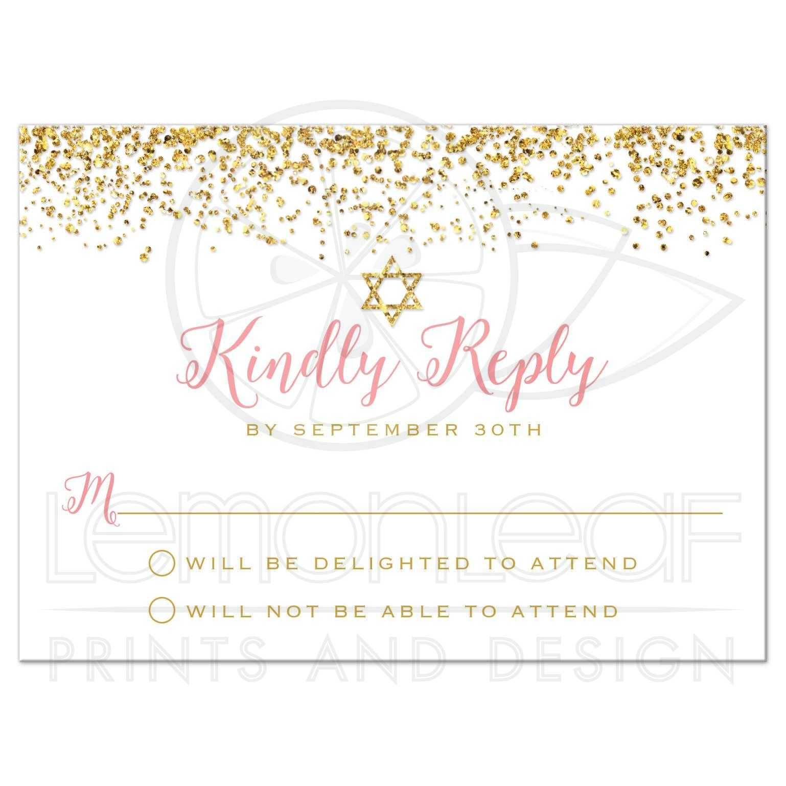 Bat Mitzvah Rsvp Cards Gold Glitter Look Confetti Joy