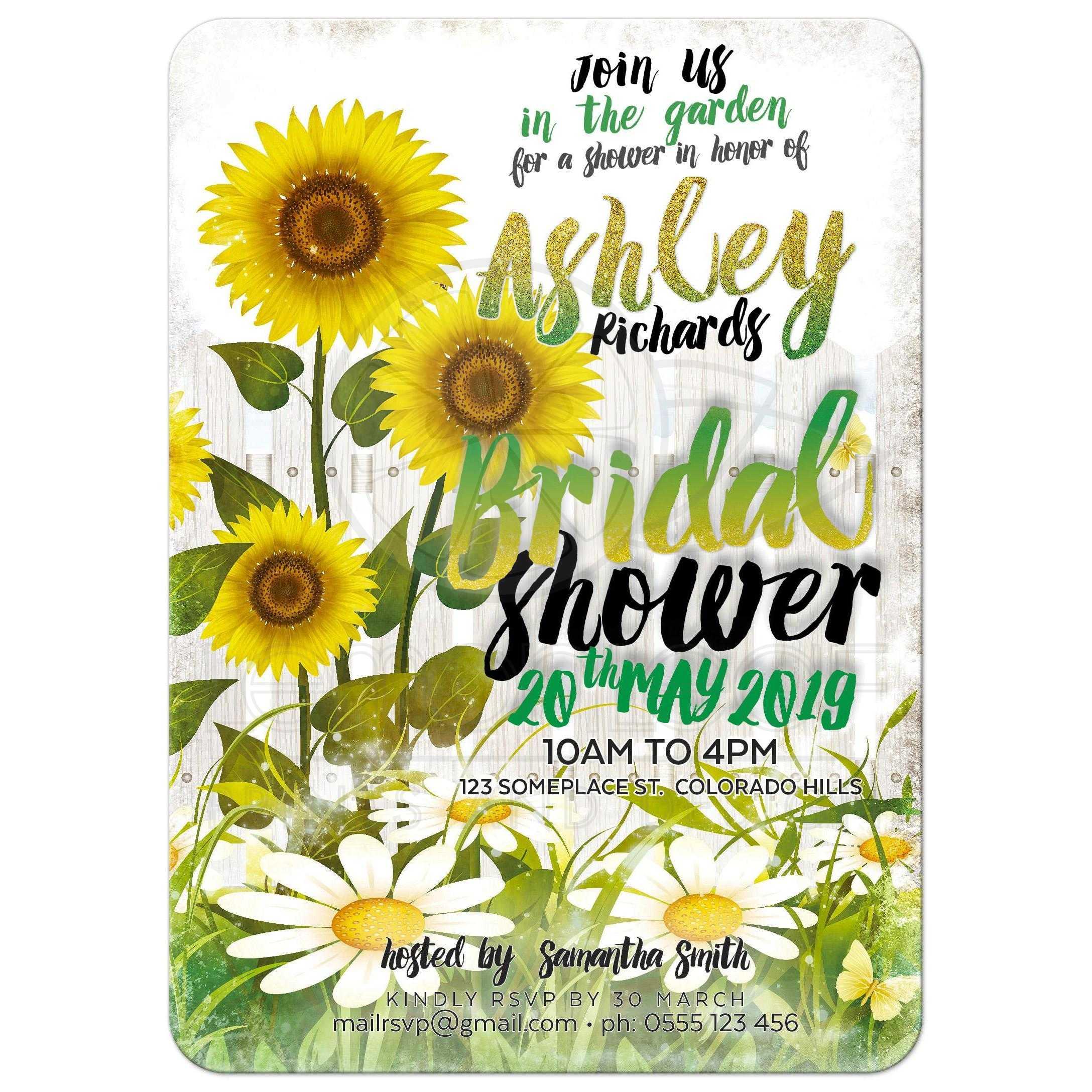 Sunflowers & Daisies Garden Bridal Shower Invitation