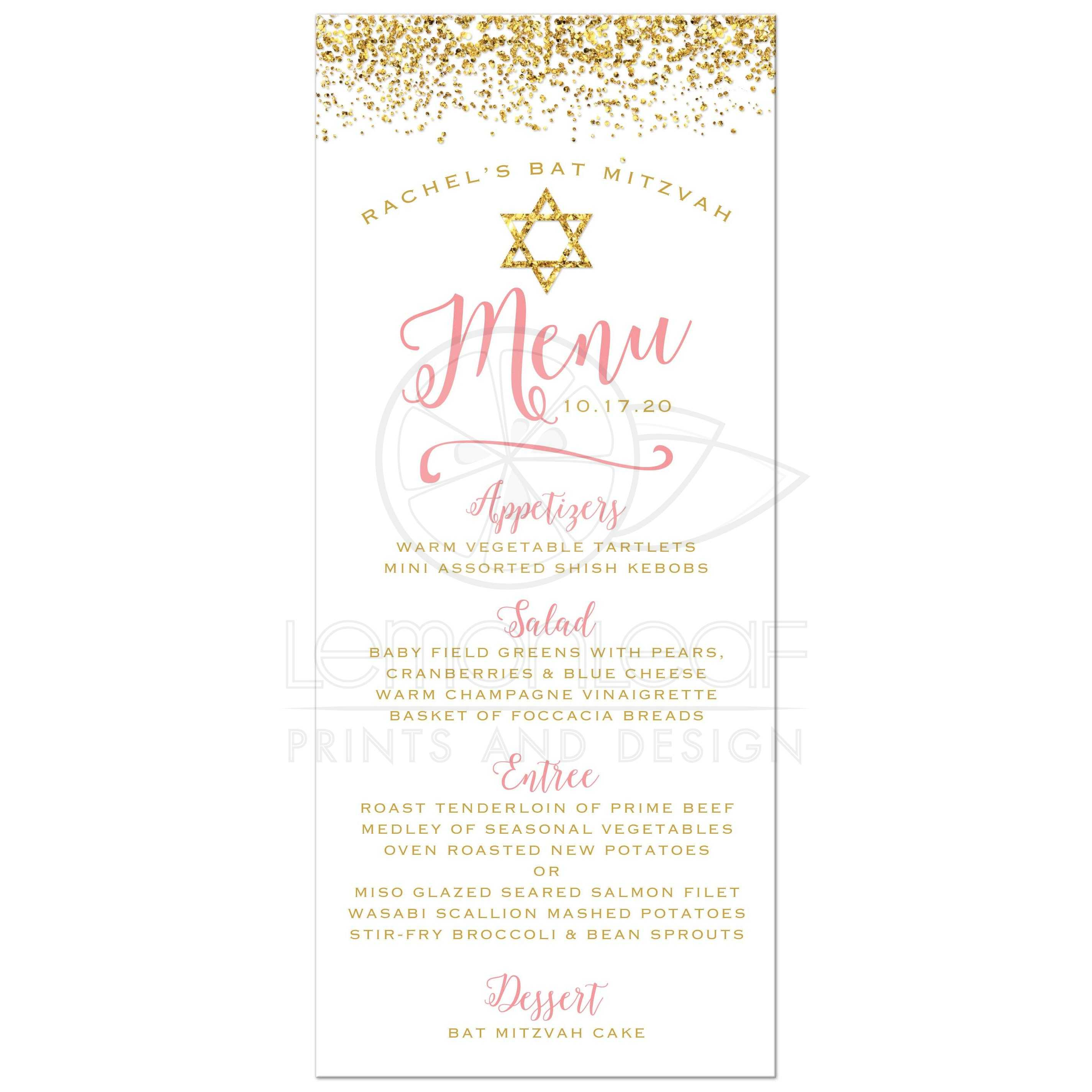 Bat Mitzvah Menu Cards - Gold Glitter Look Confetti Joy