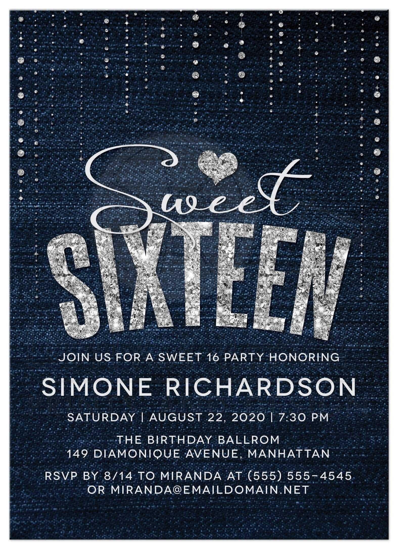 Sweet 16 Party Invitations Denim Diamonds