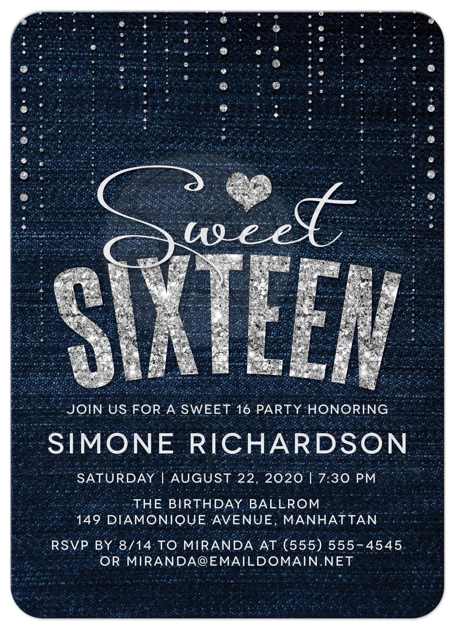 Sweet 16 party invitations denim diamonds denim diamonds sweet 16 party invitations stopboris Image collections