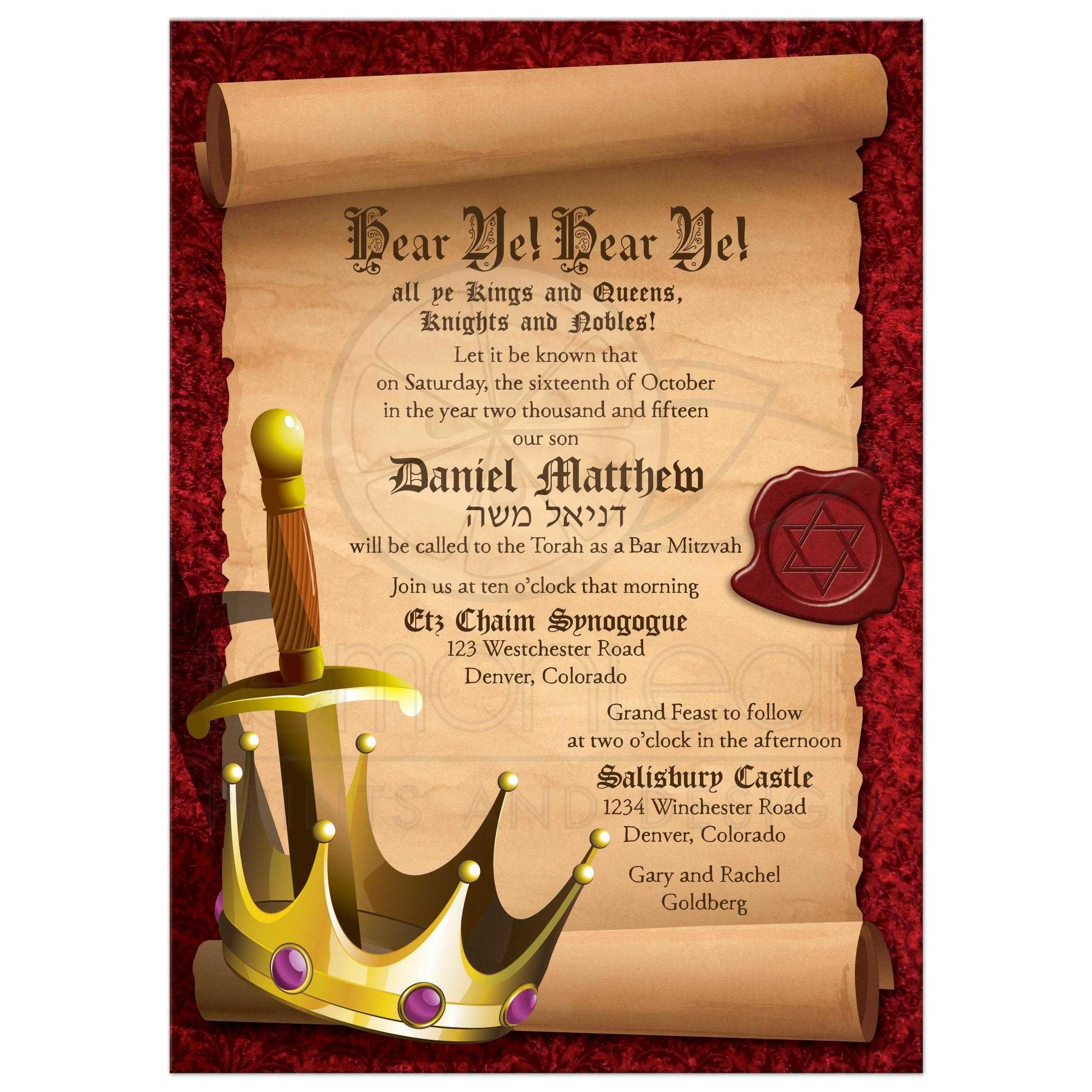 Fantasy knight bar mitzvah invitation medieval medieval fantasy knight sword and king crown bar mitzvah invitation front stopboris