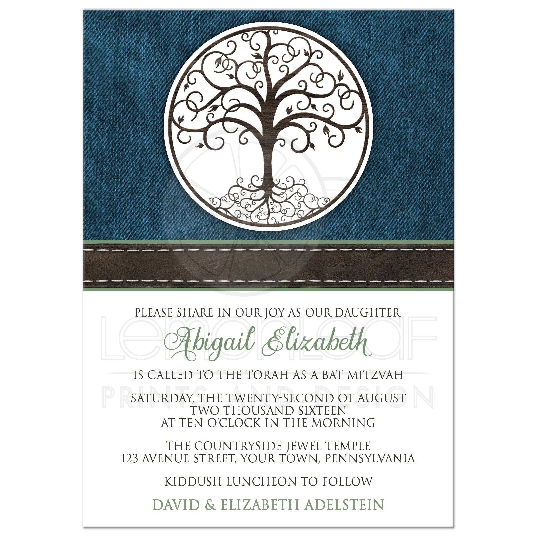 Tree Of Life Invitation Rsvp Celtic Life By: Rustic Tree Of Life Denim
