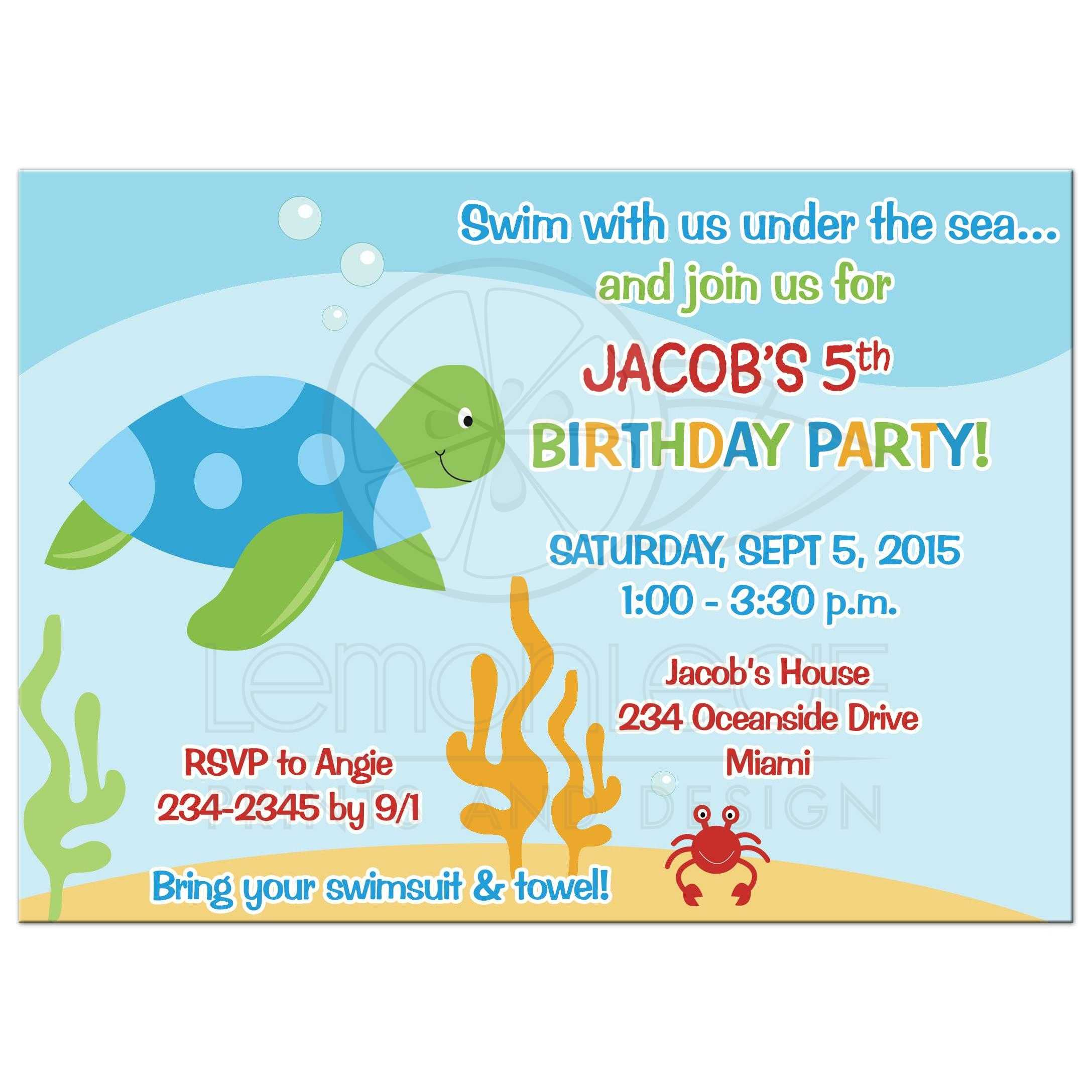Sea Turtle Under The Birthday Invitation