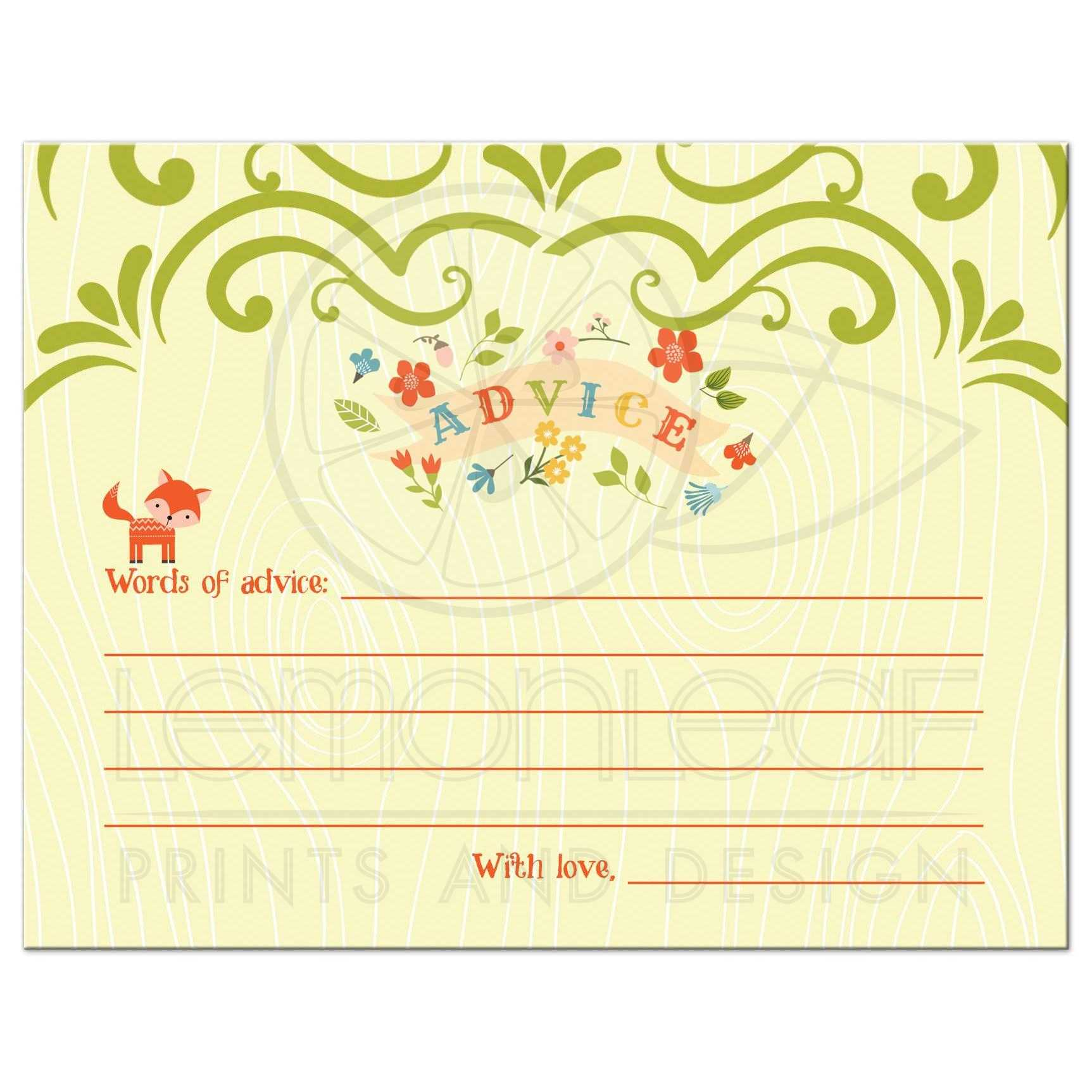 Baby Shower Advice Card Whimsical Woodland Fox