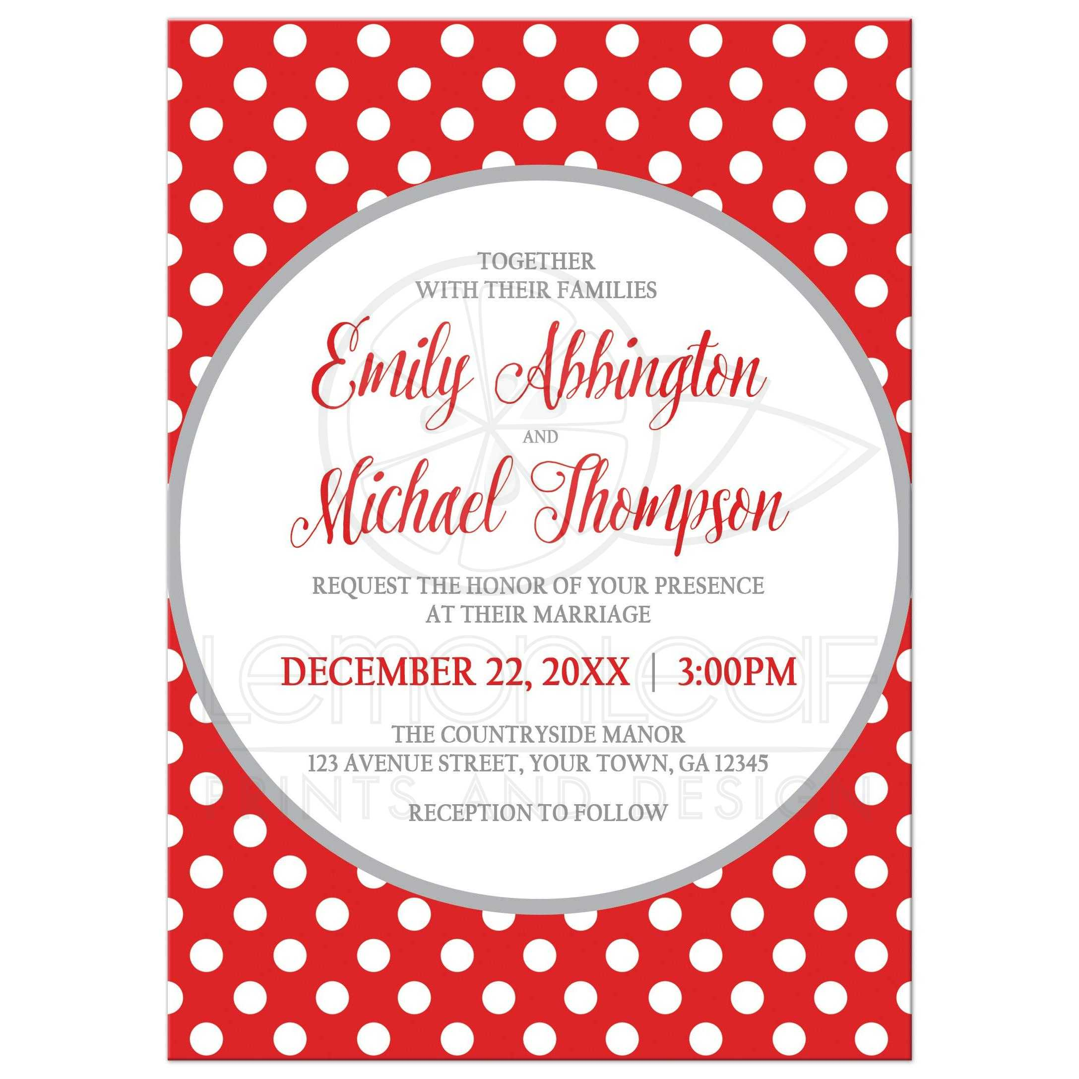 Wedding Invitations - Gray and Red Polka Dot