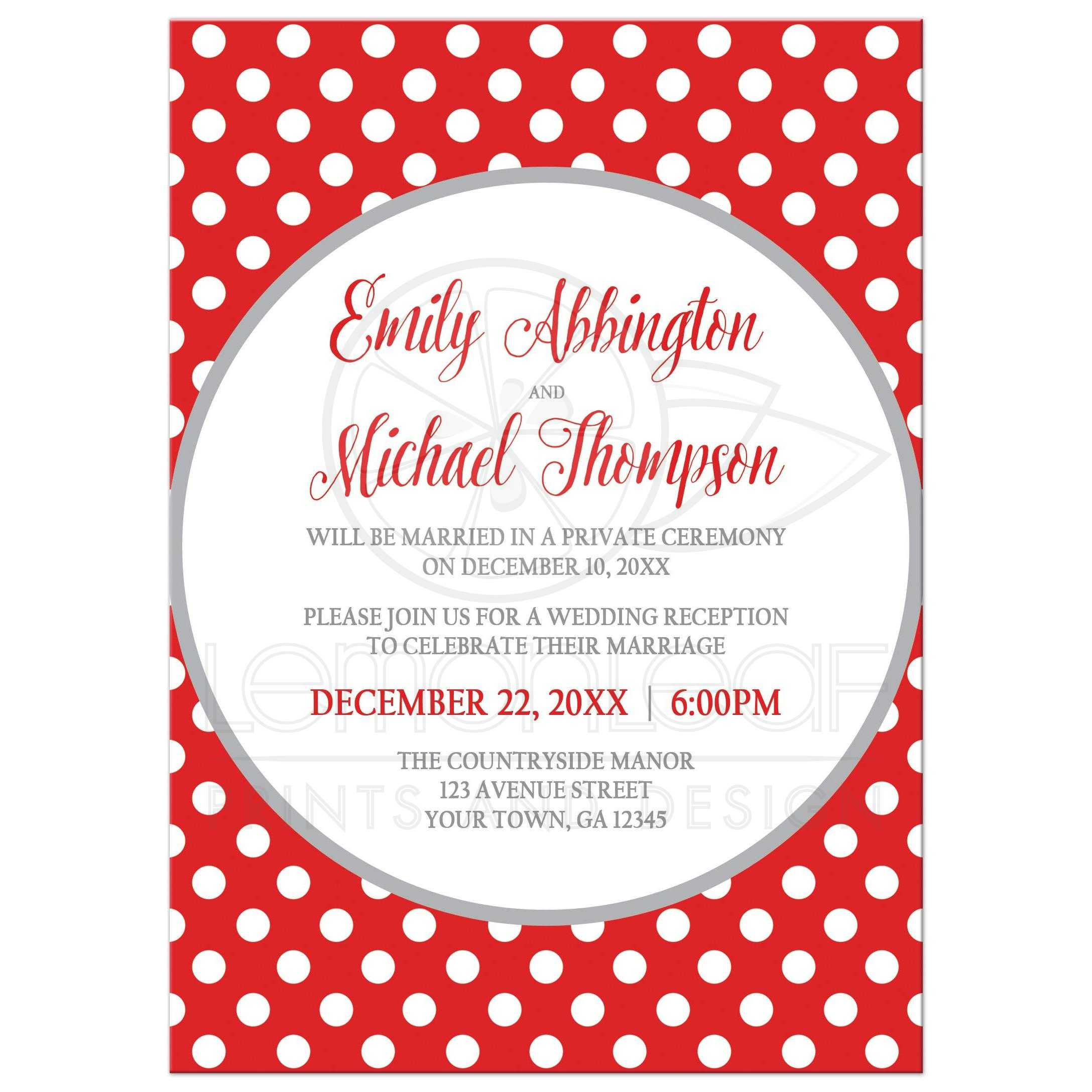 reception only invitations gray and gray polka dot