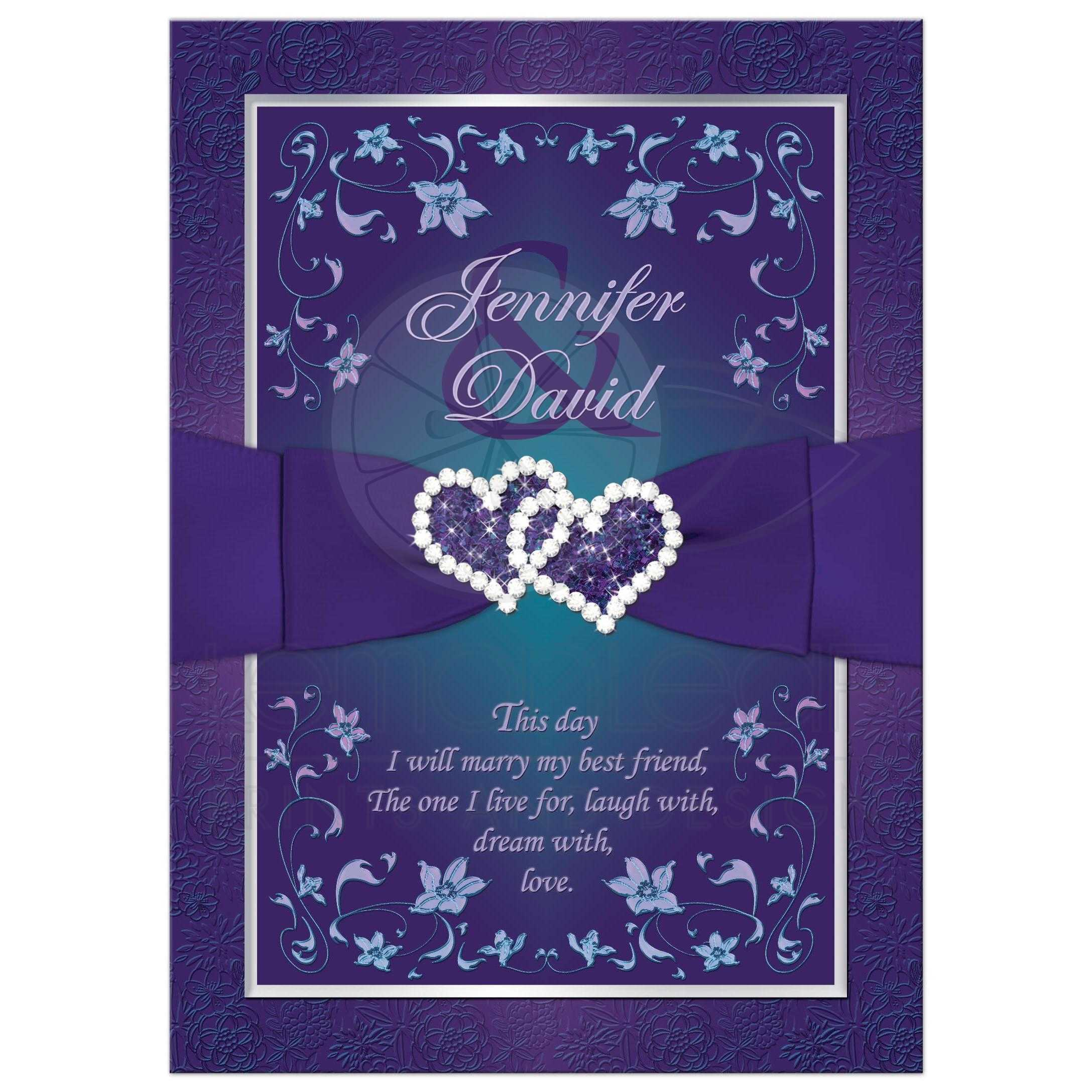 Wedding Invitation | Purple, Teal Floral | Printed Ribbon | Joined Hearts