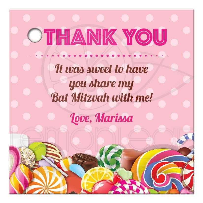 Bat Mitzvah Thank You Favor Tag Sweet Pink Polka Dot Candy Buffet