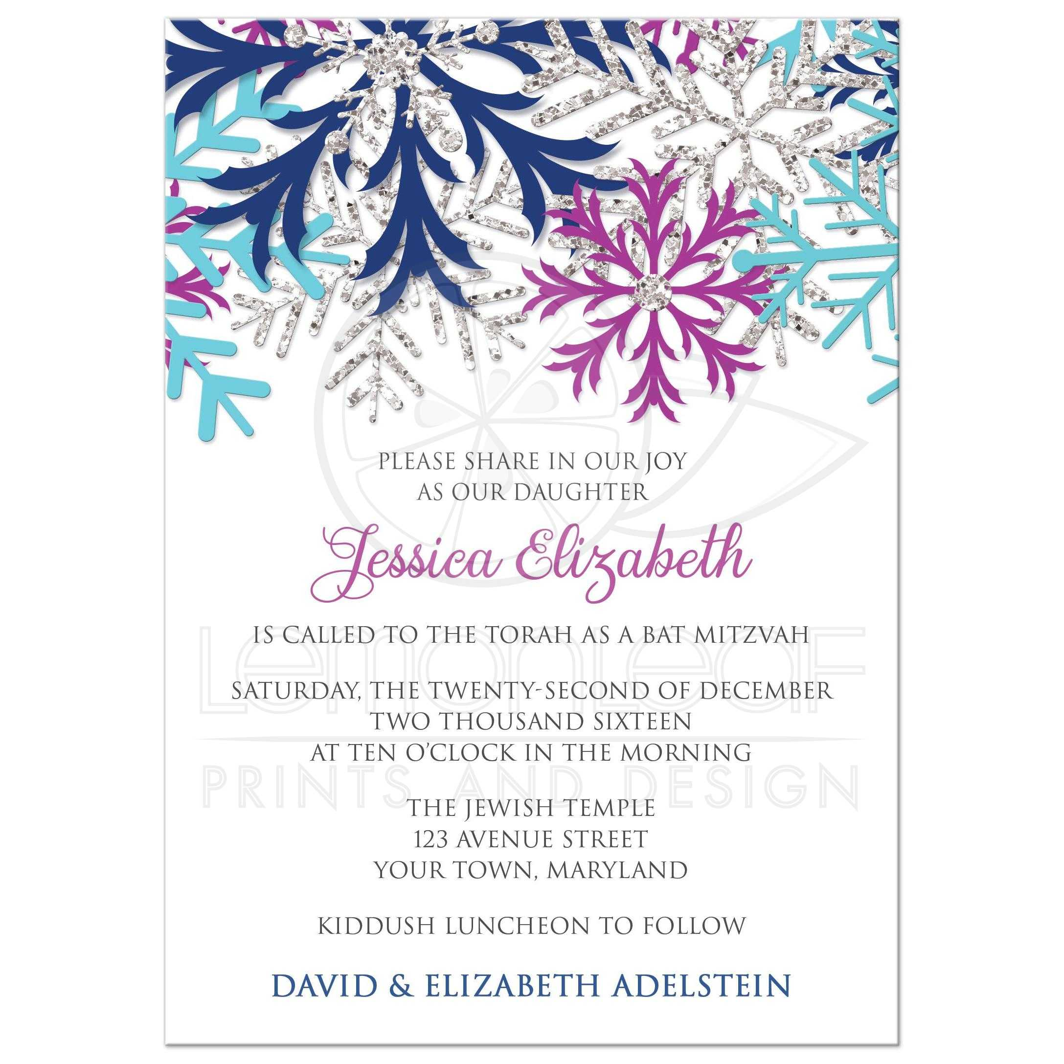 Bat Mitzvah Invitations Turquoise Navy Orchid Silver Snowflake