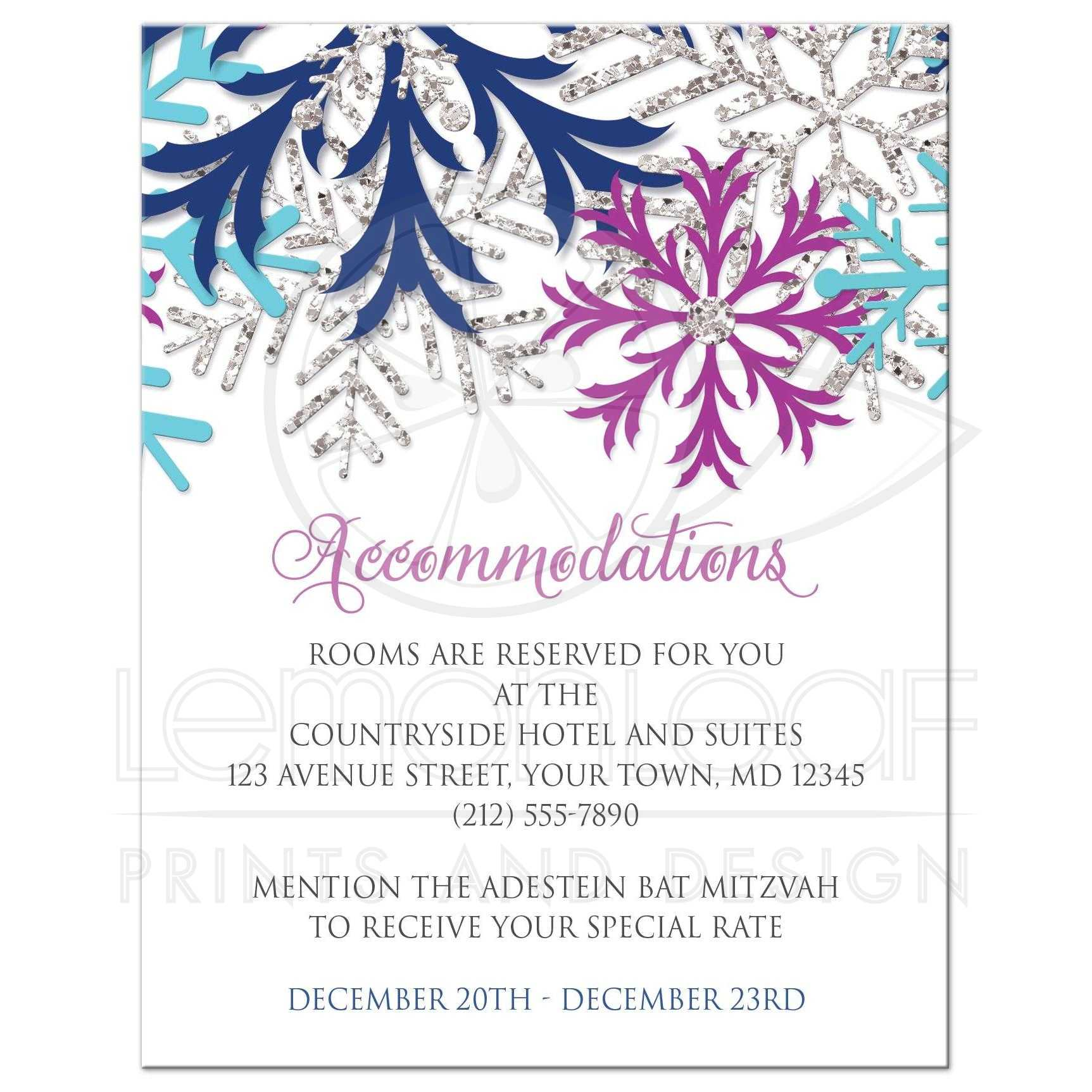 Accommodations Cards Turquoise Navy Orchid Silver Snowflake