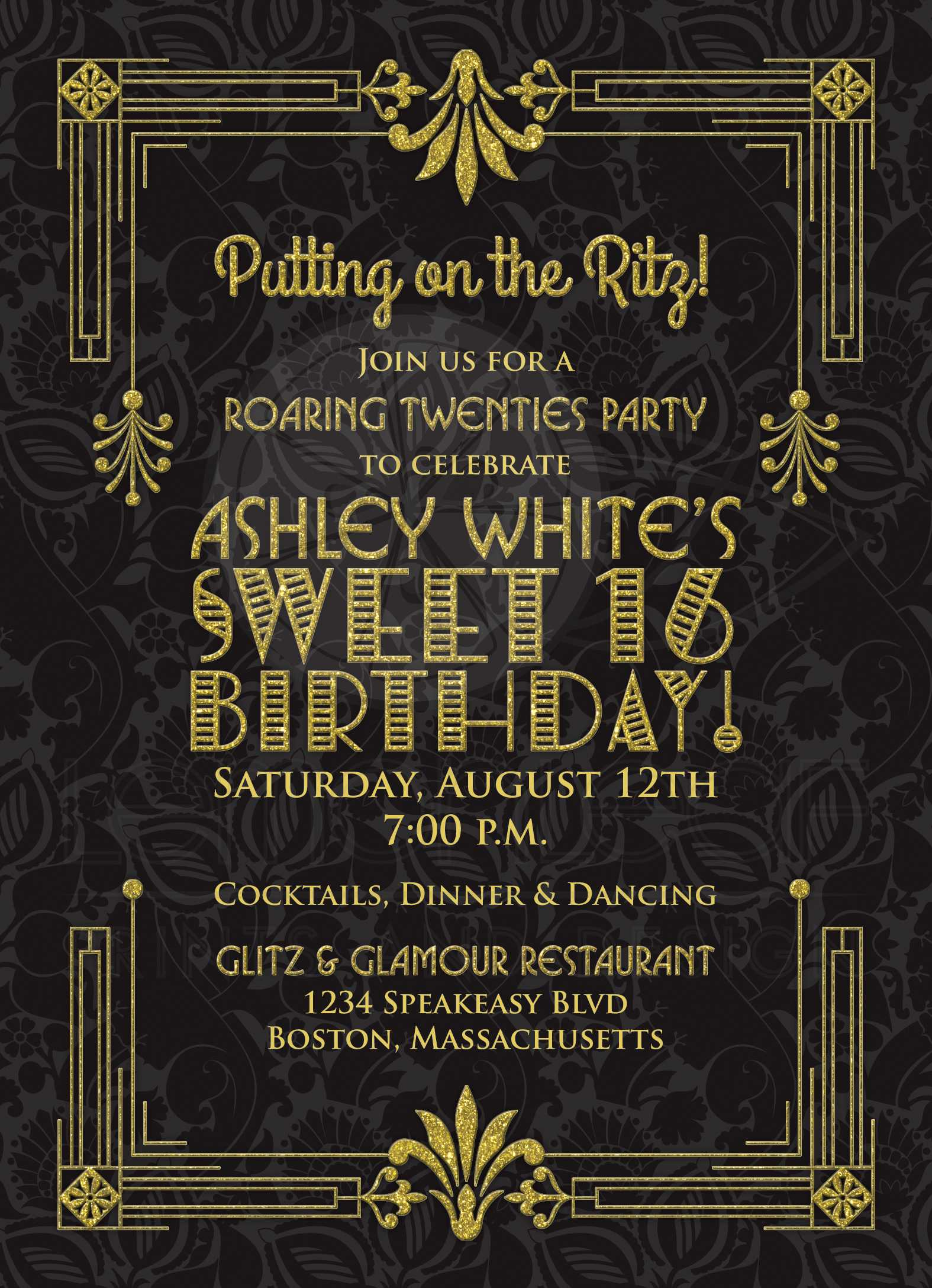 Sweet 16 Birthday Invitation | Roaring 20s Art Deco Black Gold