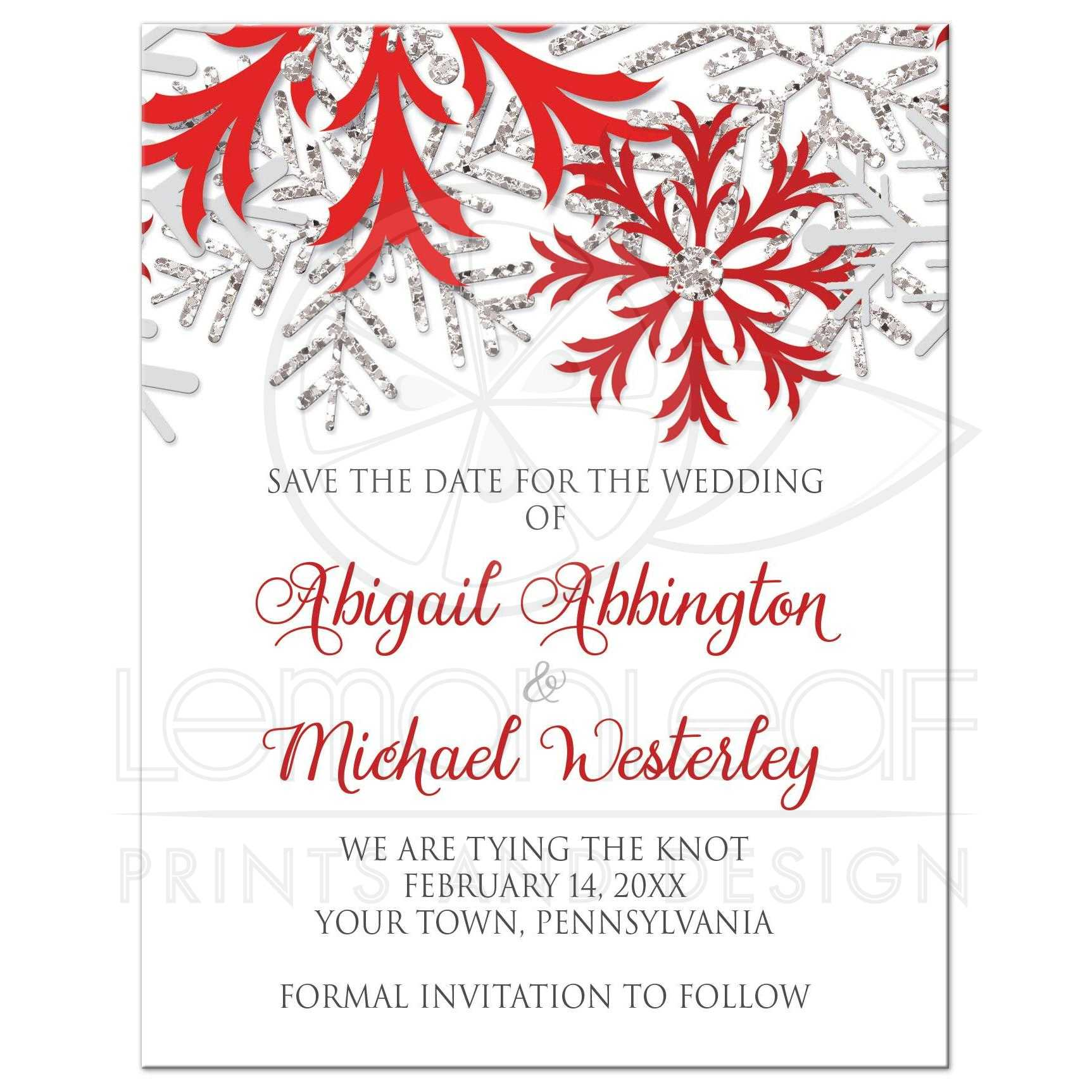 Save The Date Cards Winter Snowflake Red Silver