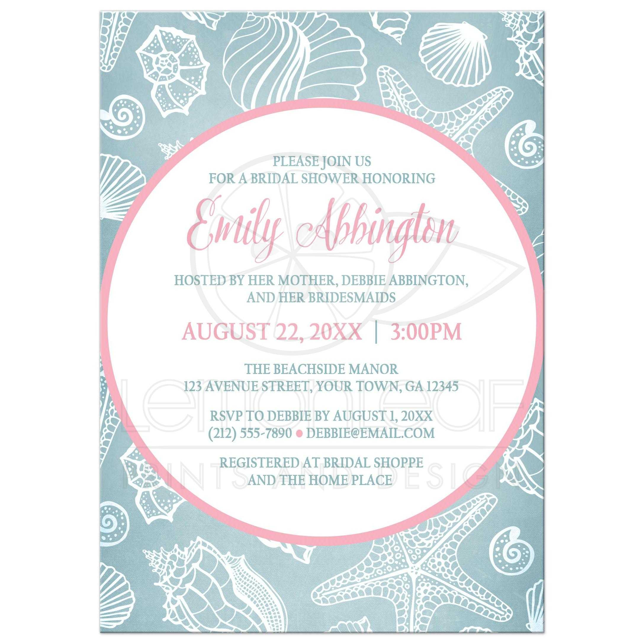 bridal shower invitations blue seashell pink beach