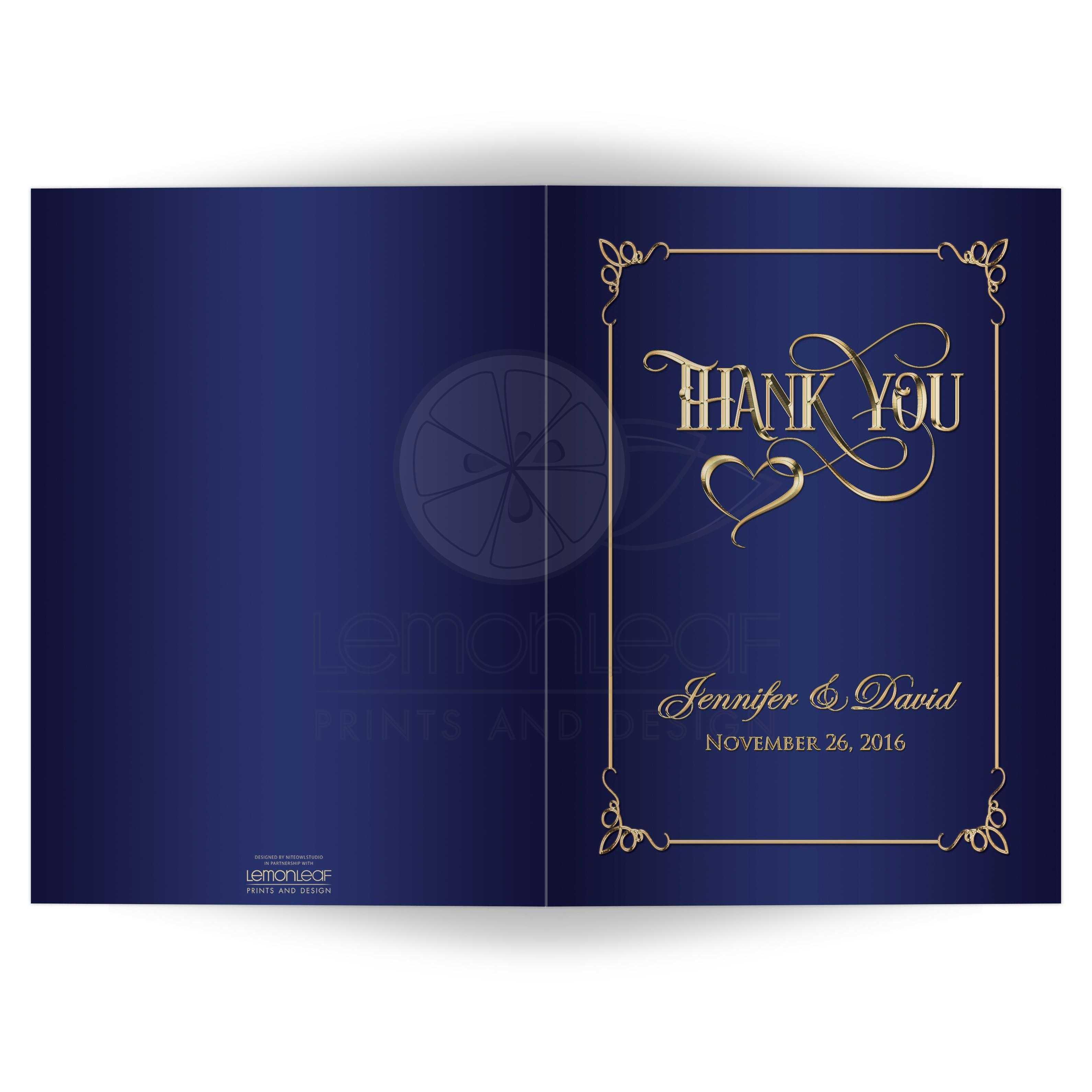 5x7 Photo Thank You Card Navy Blue Gold Ornate Scrolls Heart