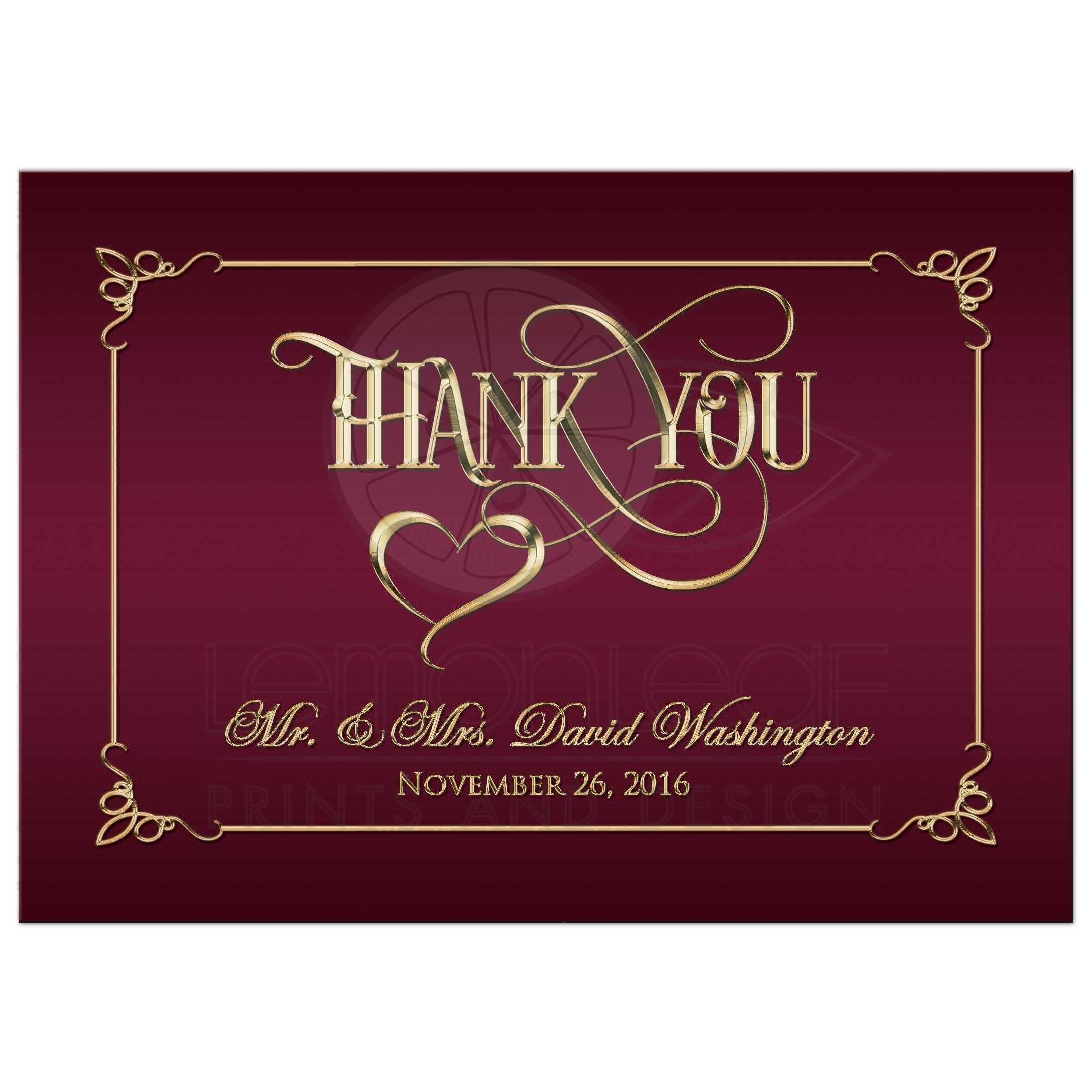 5x7 PHOTO Thank You Card | Burgundy, Gold Ornate Scrolls, Heart