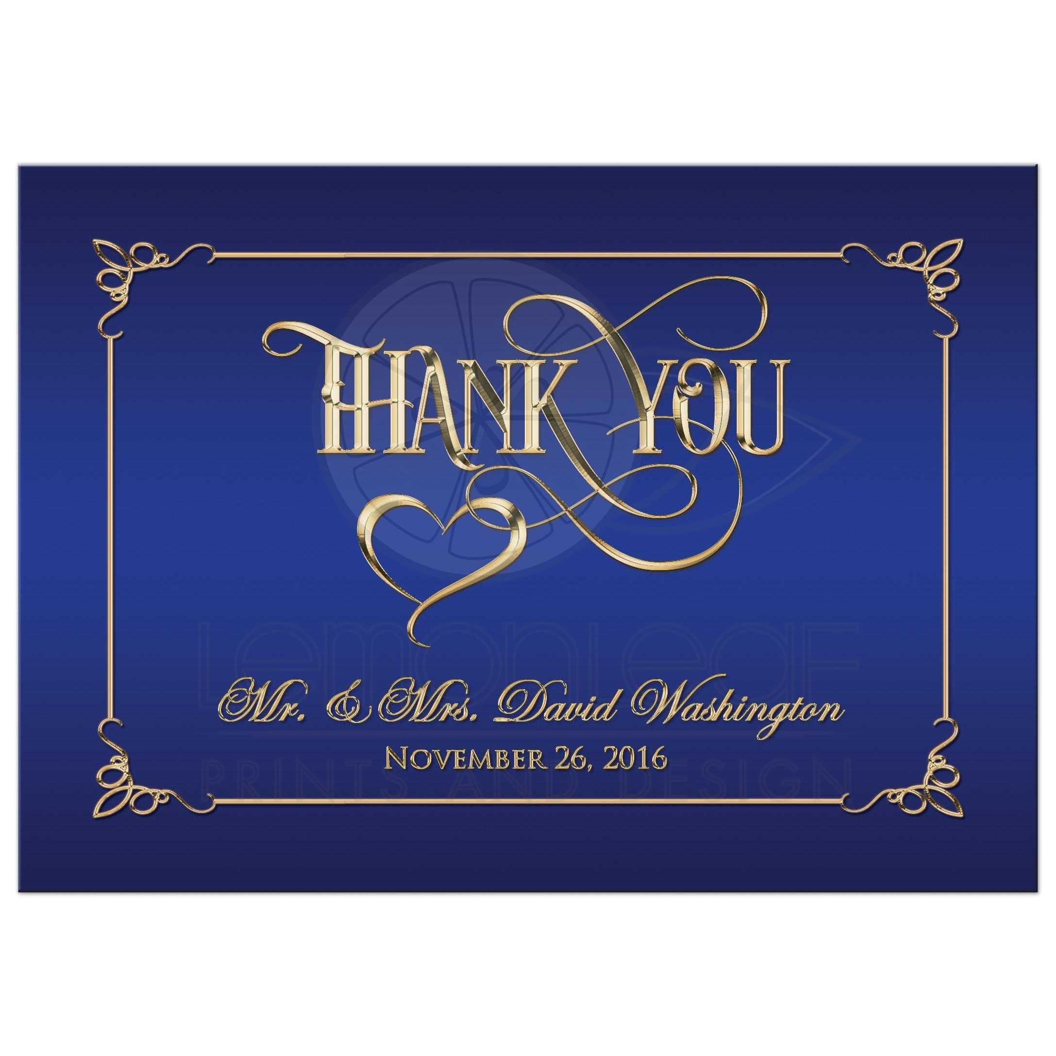 Best Personalized Royal Blue And Gold Photo Wedding Thank You Card