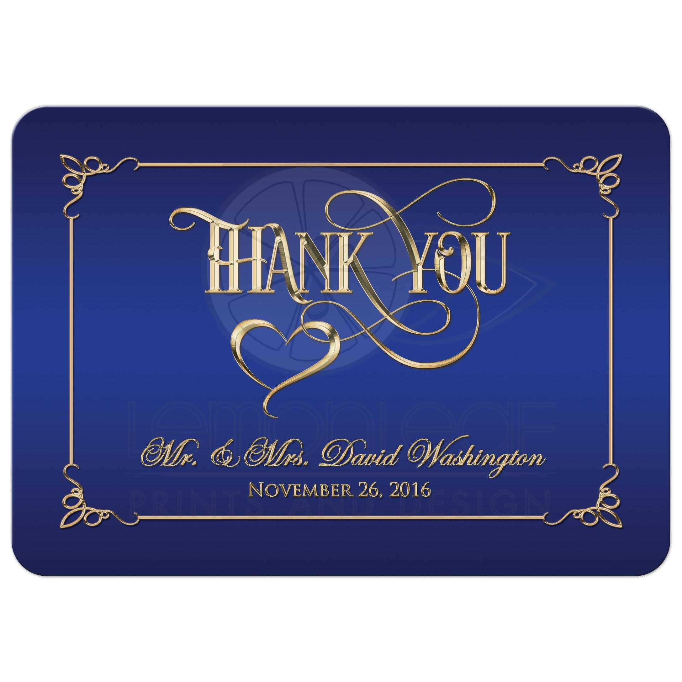 5x7 Photo Thank You Card Royal Blue Gold Ornate Scrolls