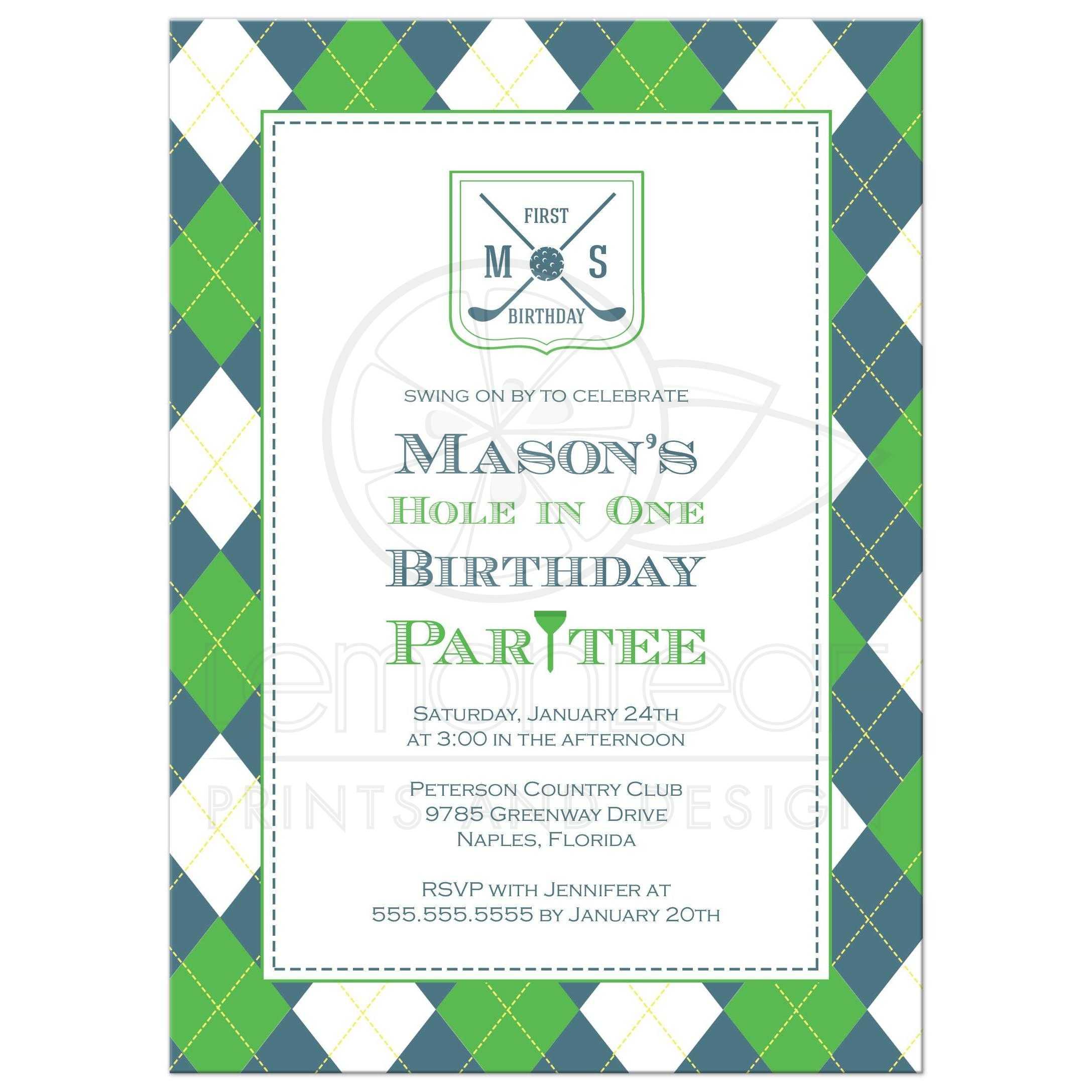 Birthday Party Invitation Blue And Green Argyle Golf