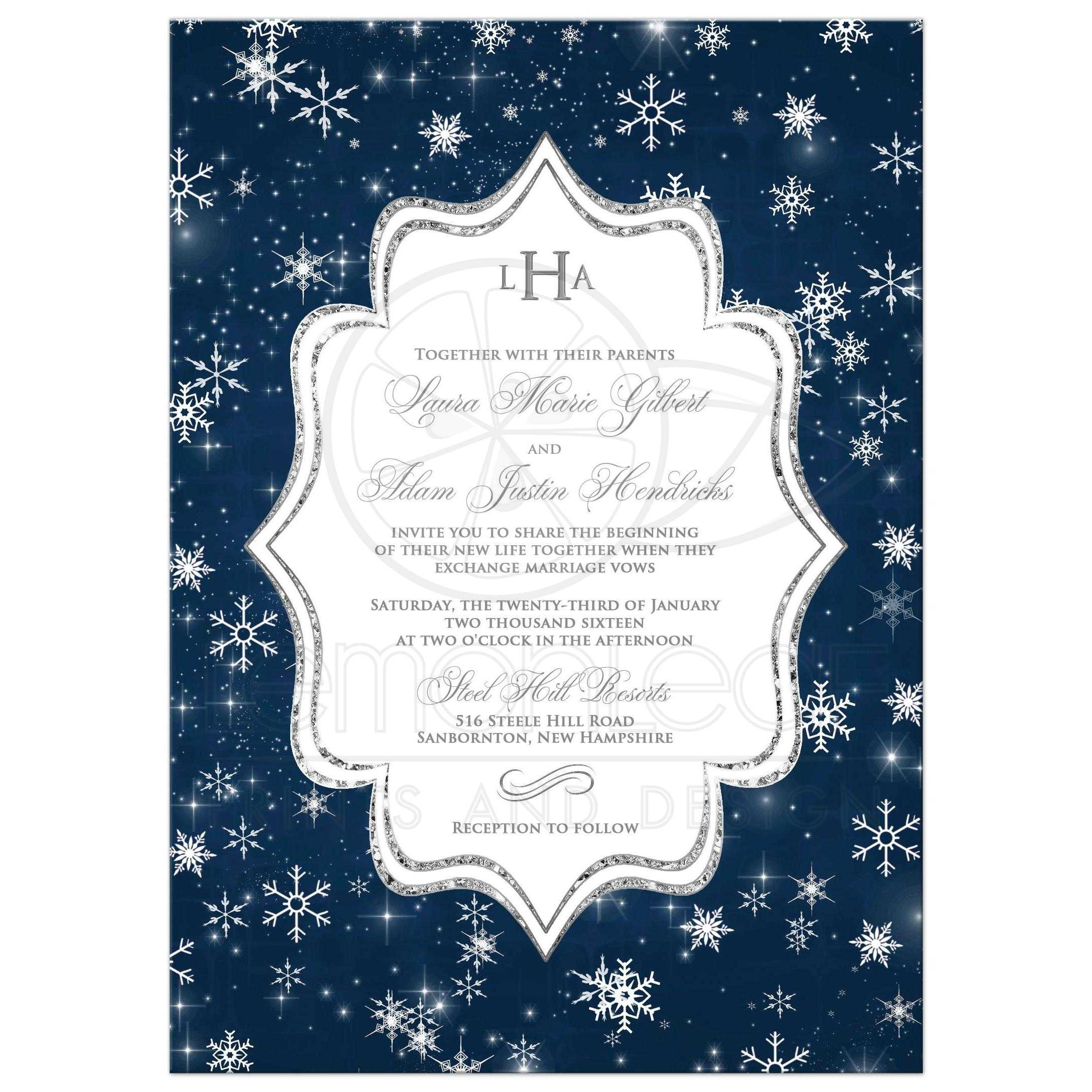 Wonderful Winter Wonderland Wedding Invitation In Navy Blue, White And Silver  Snowflakes And Glitter ...